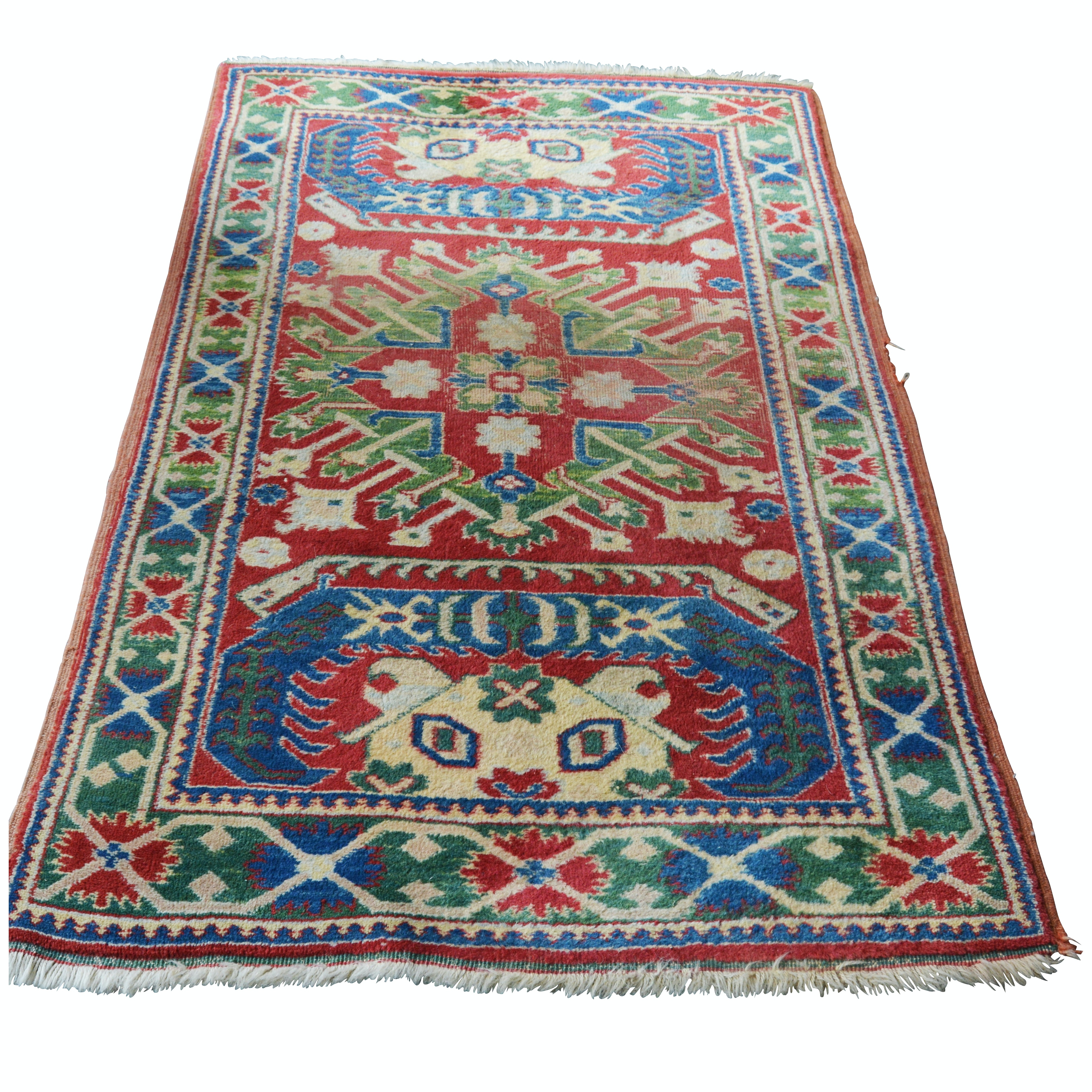 Hand-Knotted Caucasian Karabagh Chelaberd Wool Area Rug