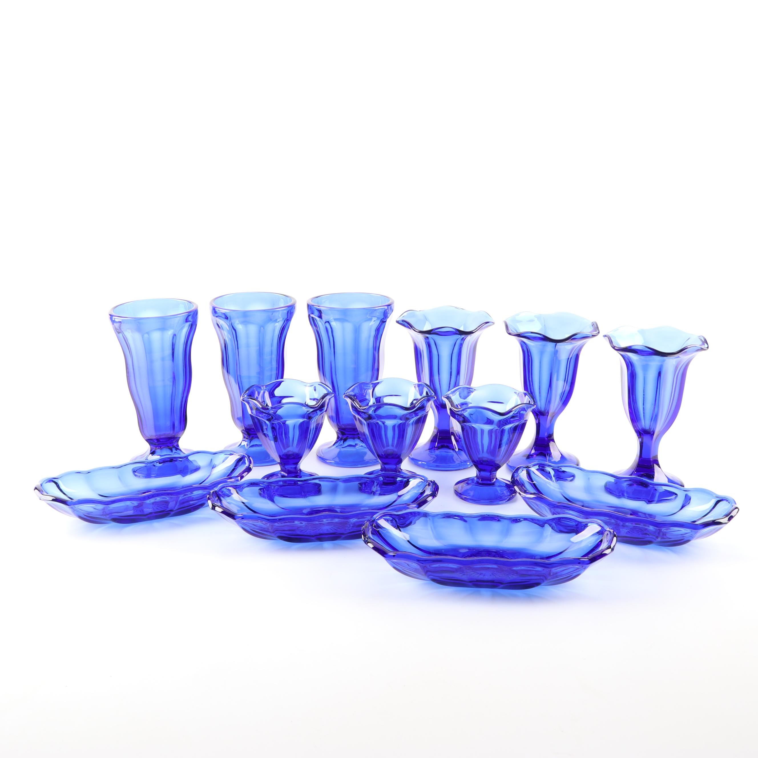 "Anchor Hocking ""Fountainware Cobalt Blue"" Grouping"