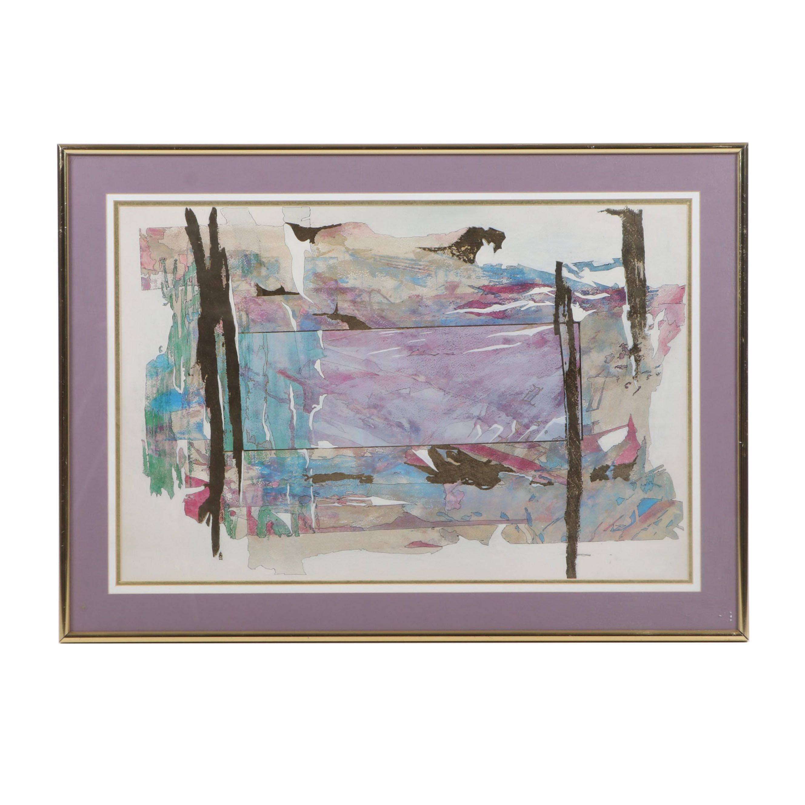 Abstract Mixed Media Offset Lithograph, Contemporary