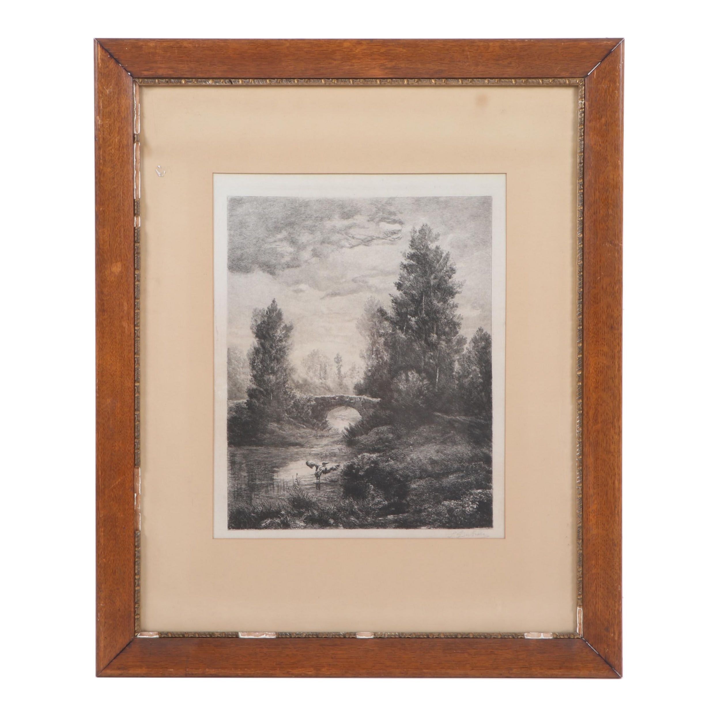 19th Century Etching of Landscape