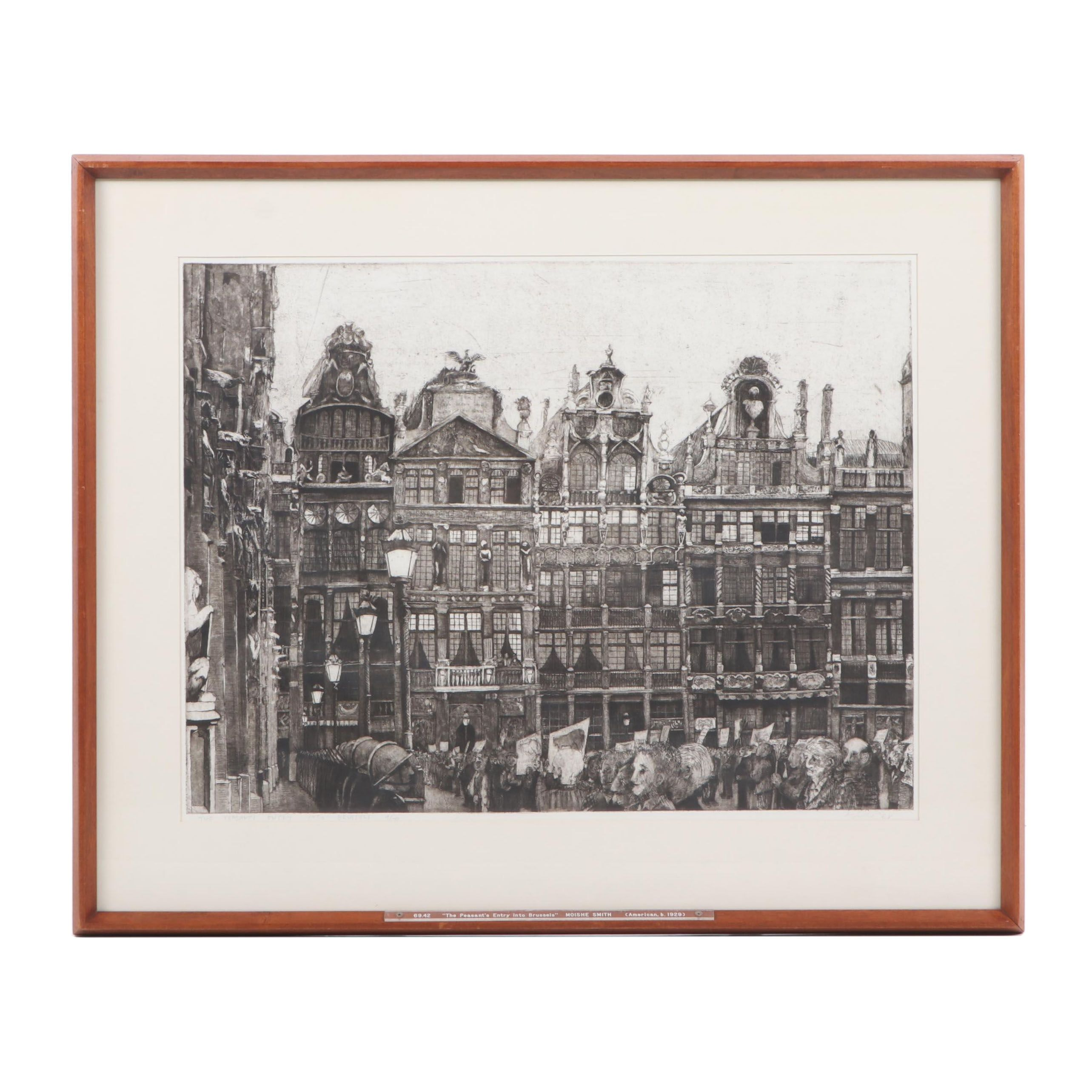 """Moishe Smith Etching """"The Peasant's Entry into Brussels"""", 1968"""
