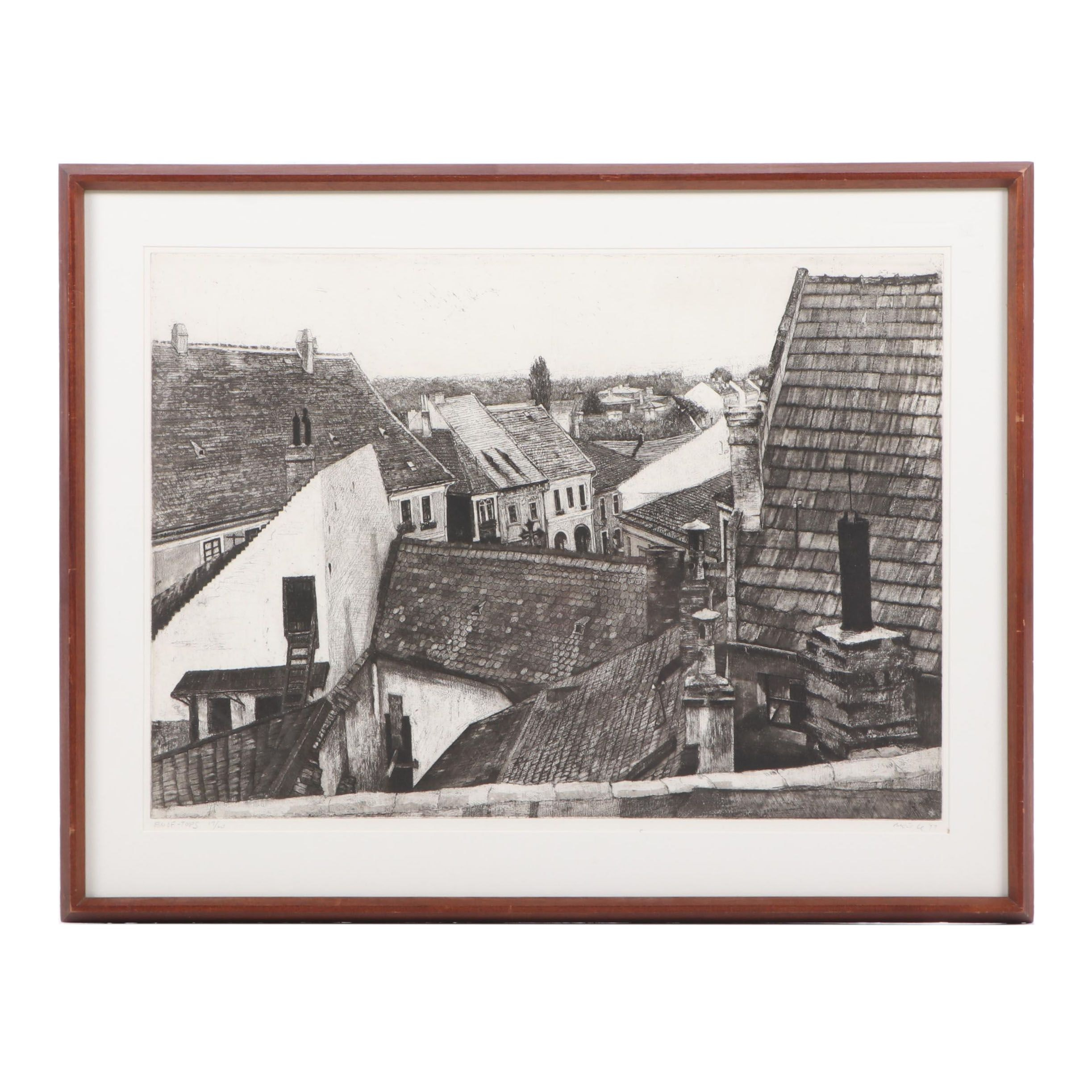 """Moishe Smith Etching """"Roof Tops"""", 1977"""