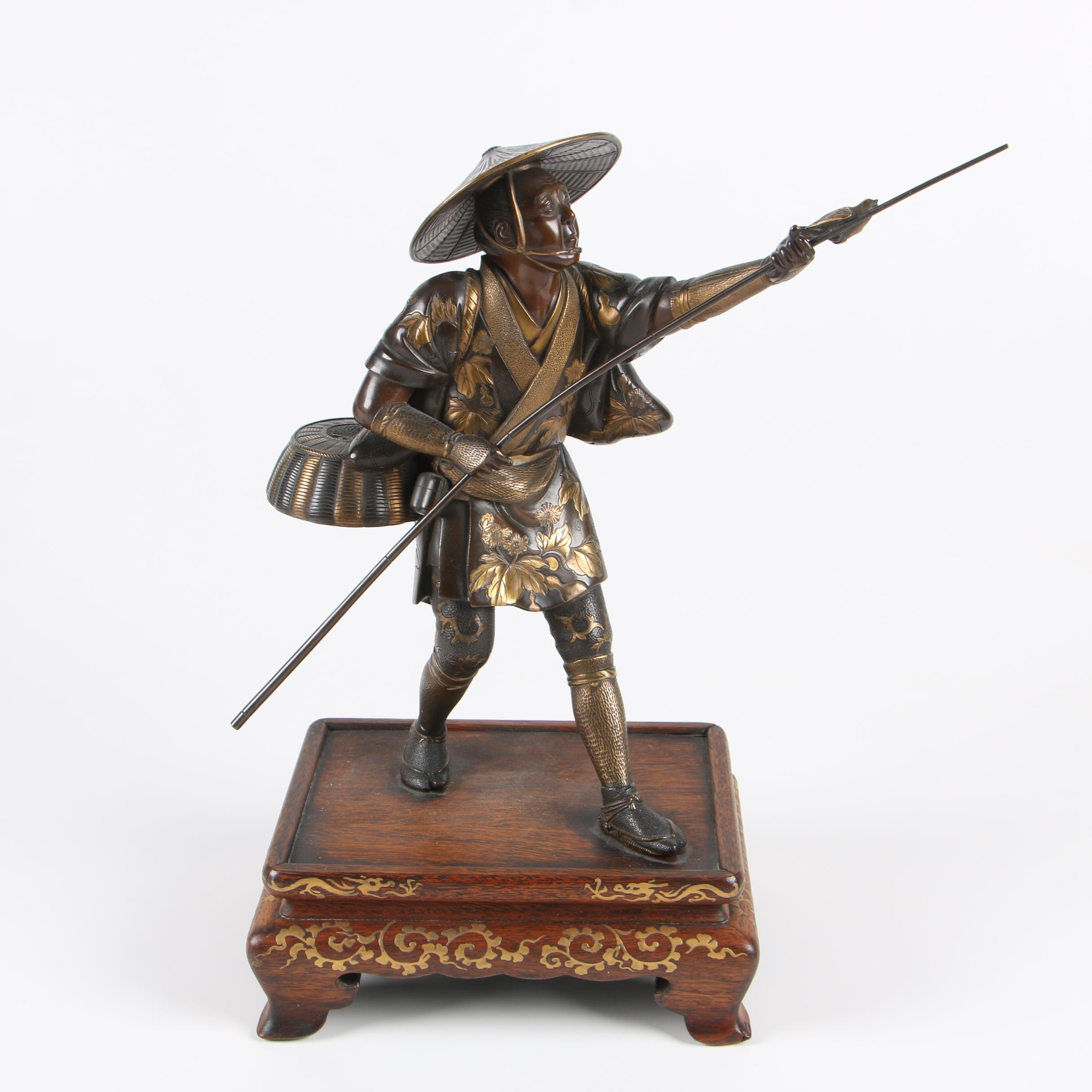 Eisuke Miyao Bronze Sculpture of Bird Keeper, Meiji Period