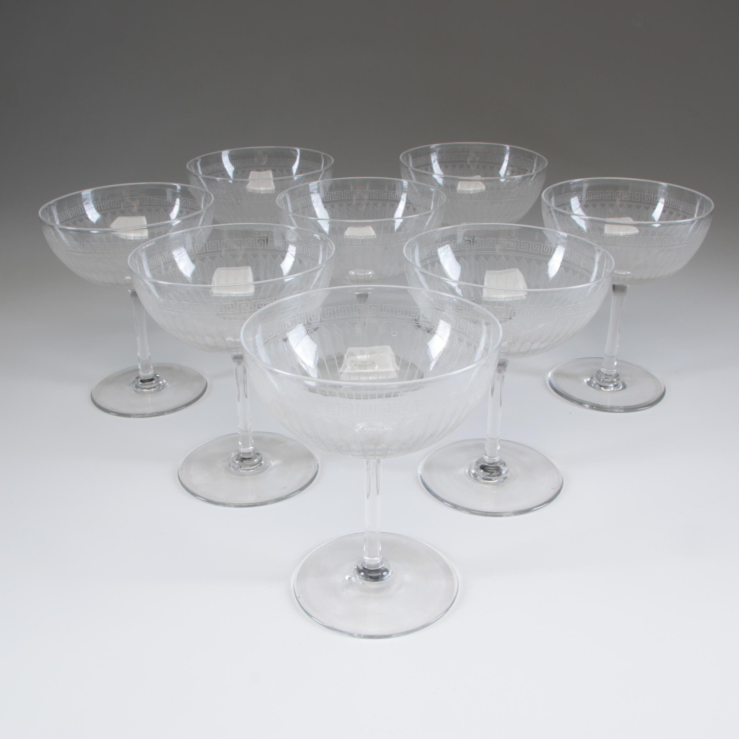 Greek Key and Chevron Pattern Crystal Champagne Glasses