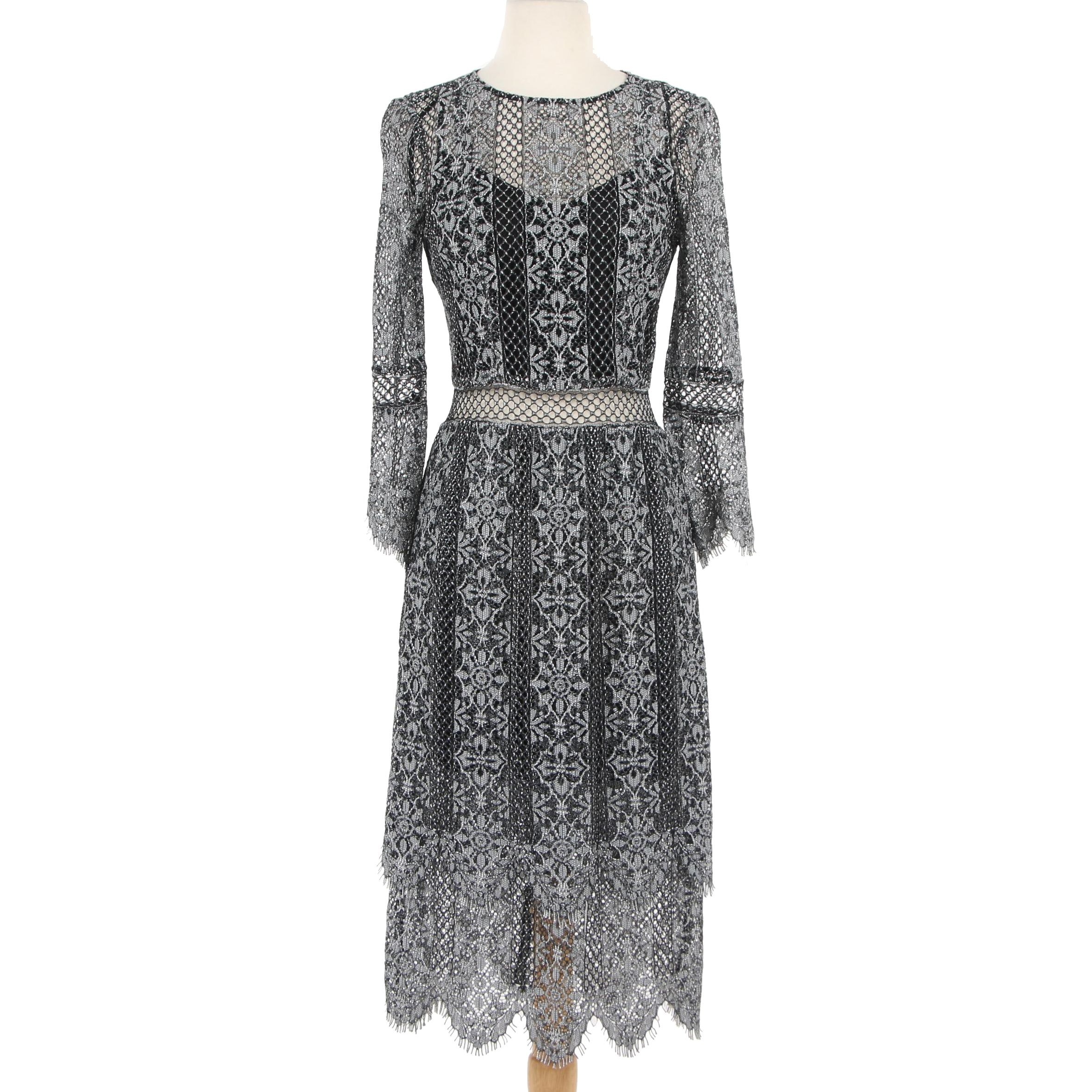 Haute Hippie Black Lace Dress with Metallic Silver Embroidery