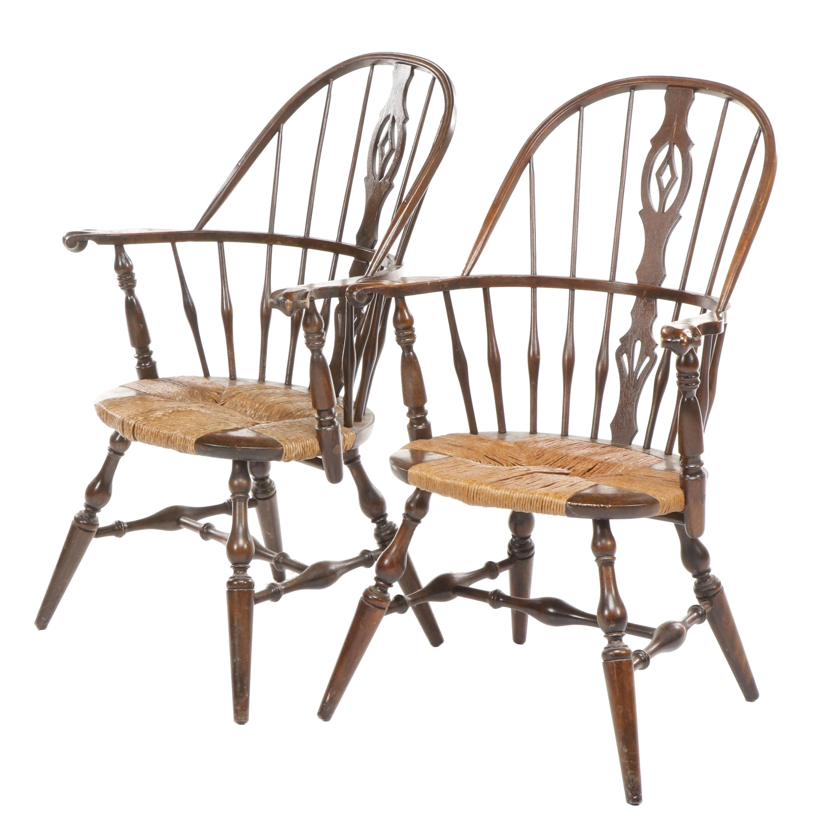 Pair of Colonial Windsor Style Wooden Armchairs with Rush Seat