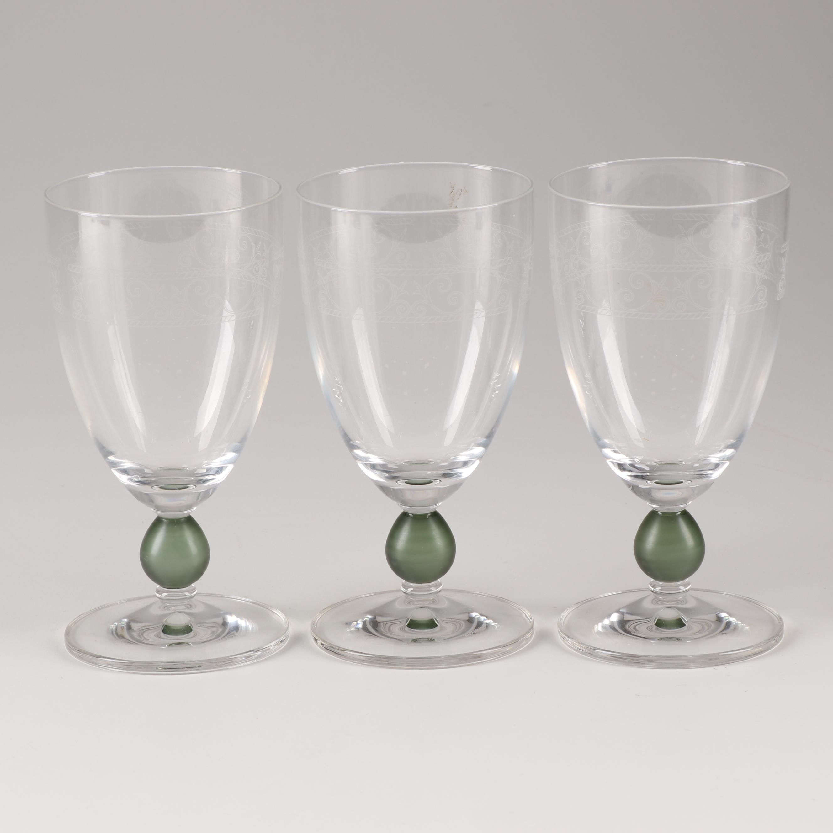 "Wedgwood ""Sarah's Garden"" Etched Glass Water Goblets"
