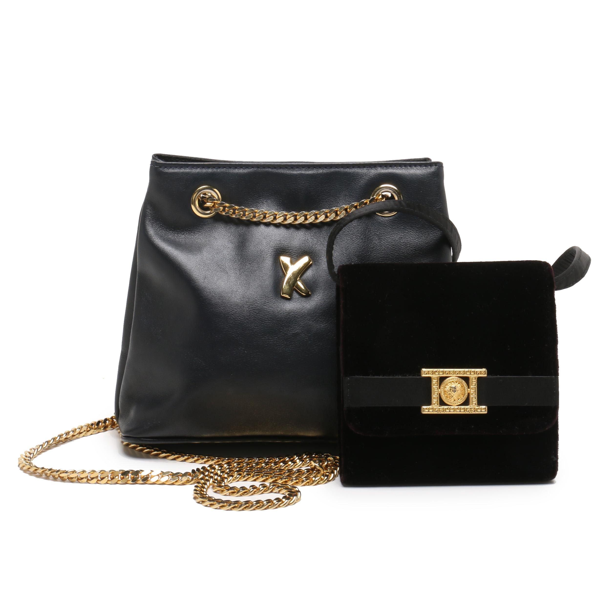Paloma Picasso Navy Blue Leather Shoulder Bag and Milor Velveteen Crossbody Bag