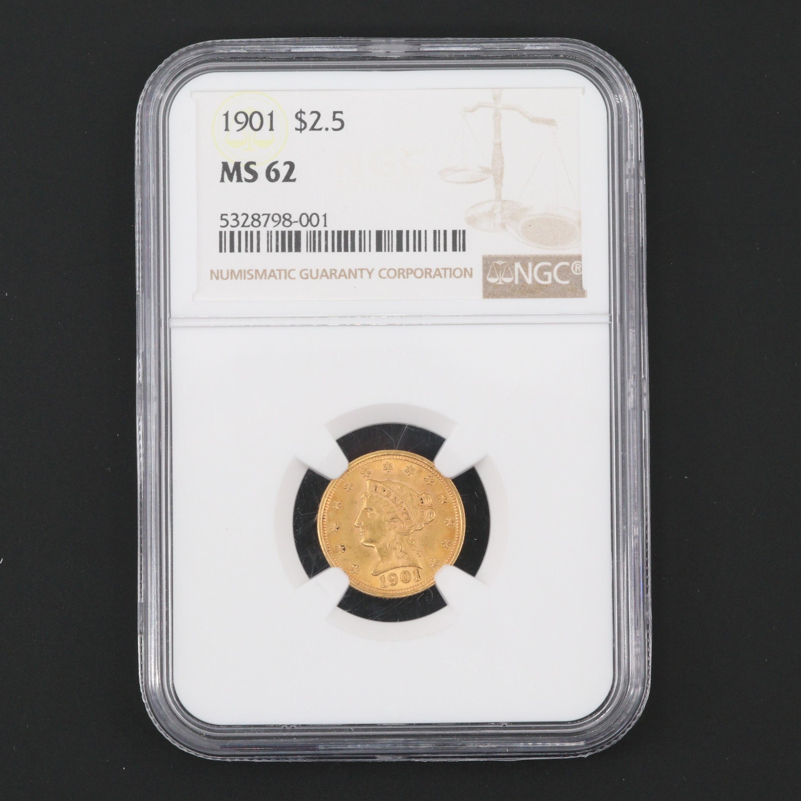 NGC Graded MS62 1901 Liberty Head $2.50 Quarter Eagle Gold Coin