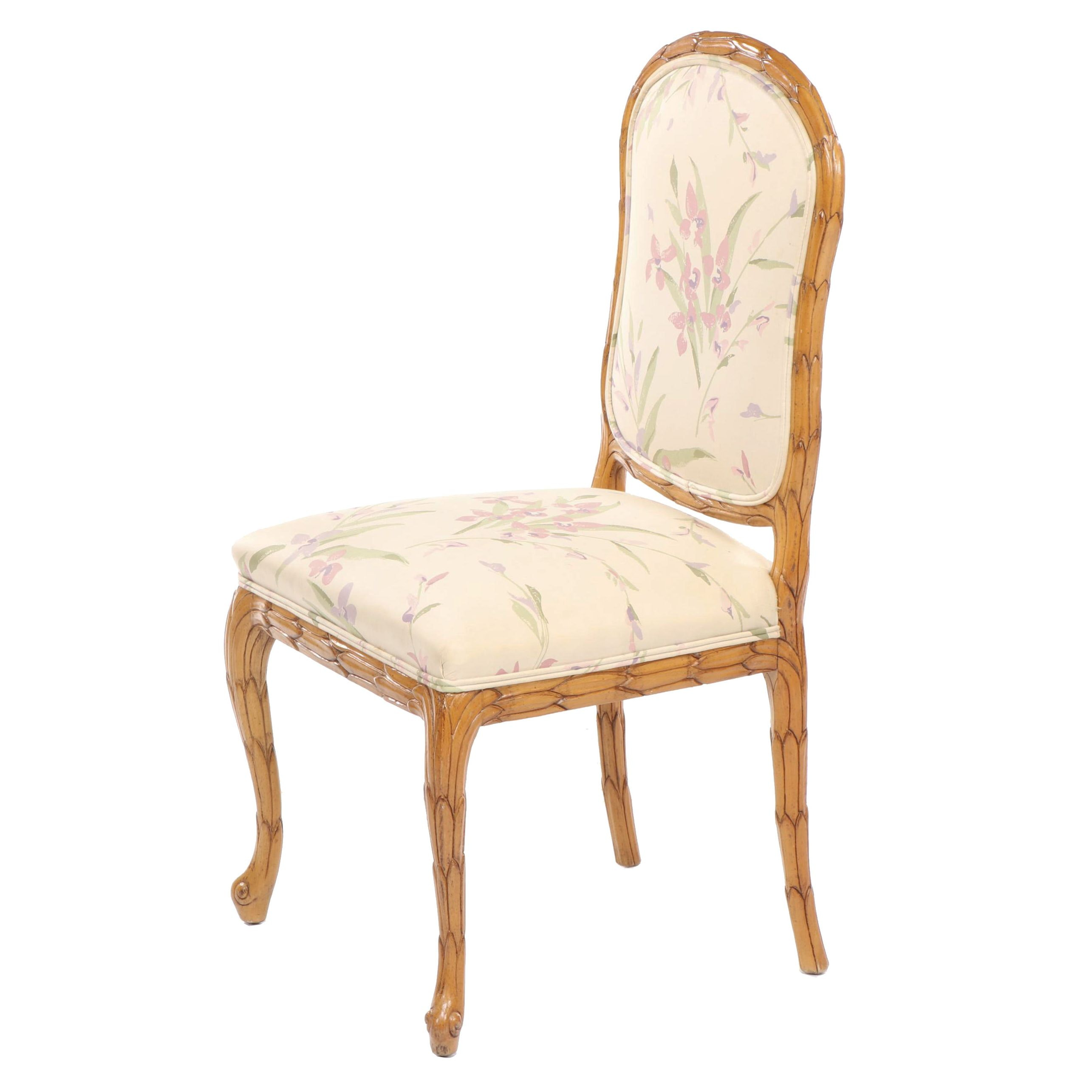 Century Chair Company Floral Upholstered French Style Carved Wooden Chair