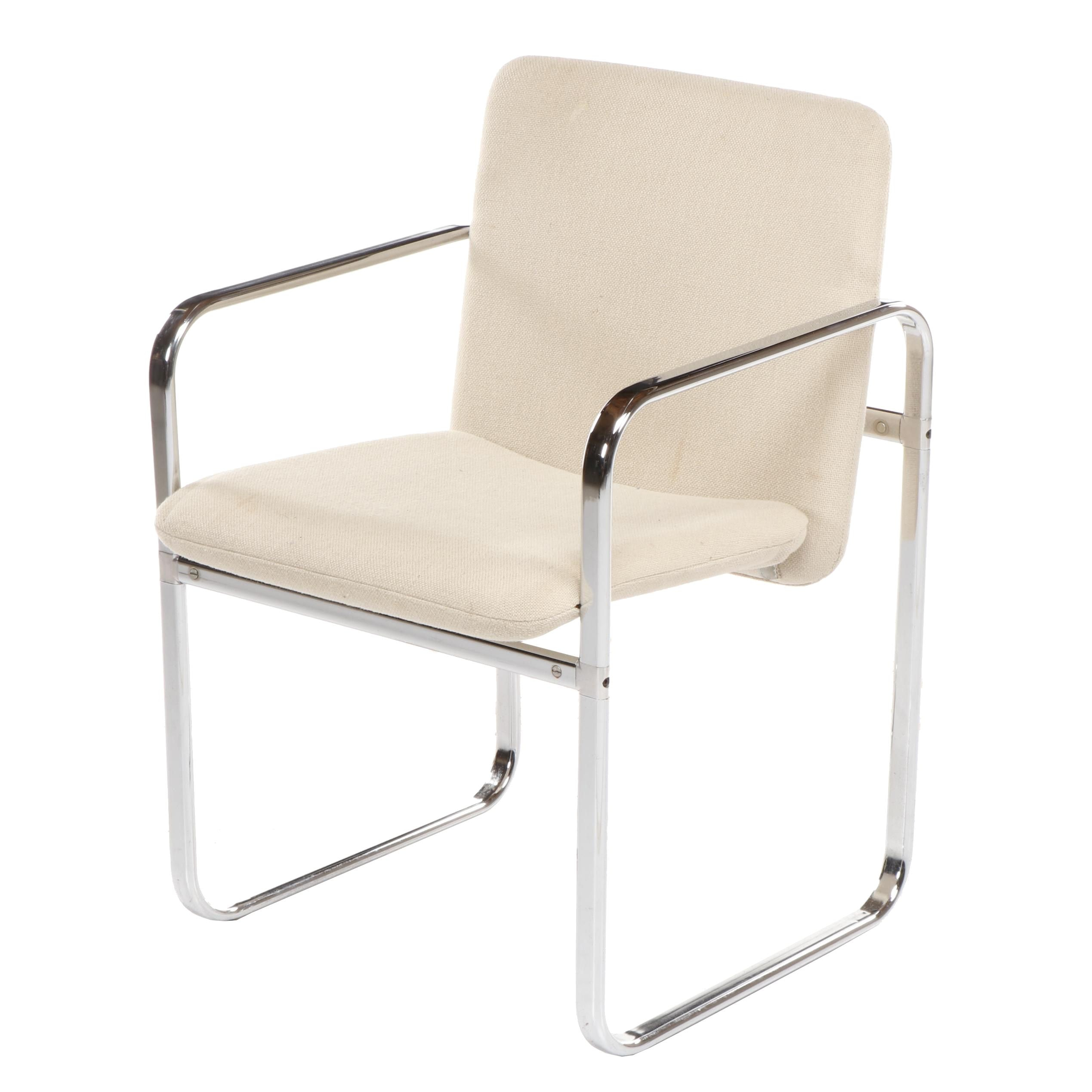 Modern Style Chair with Chrome Frame and Beige Upholstery