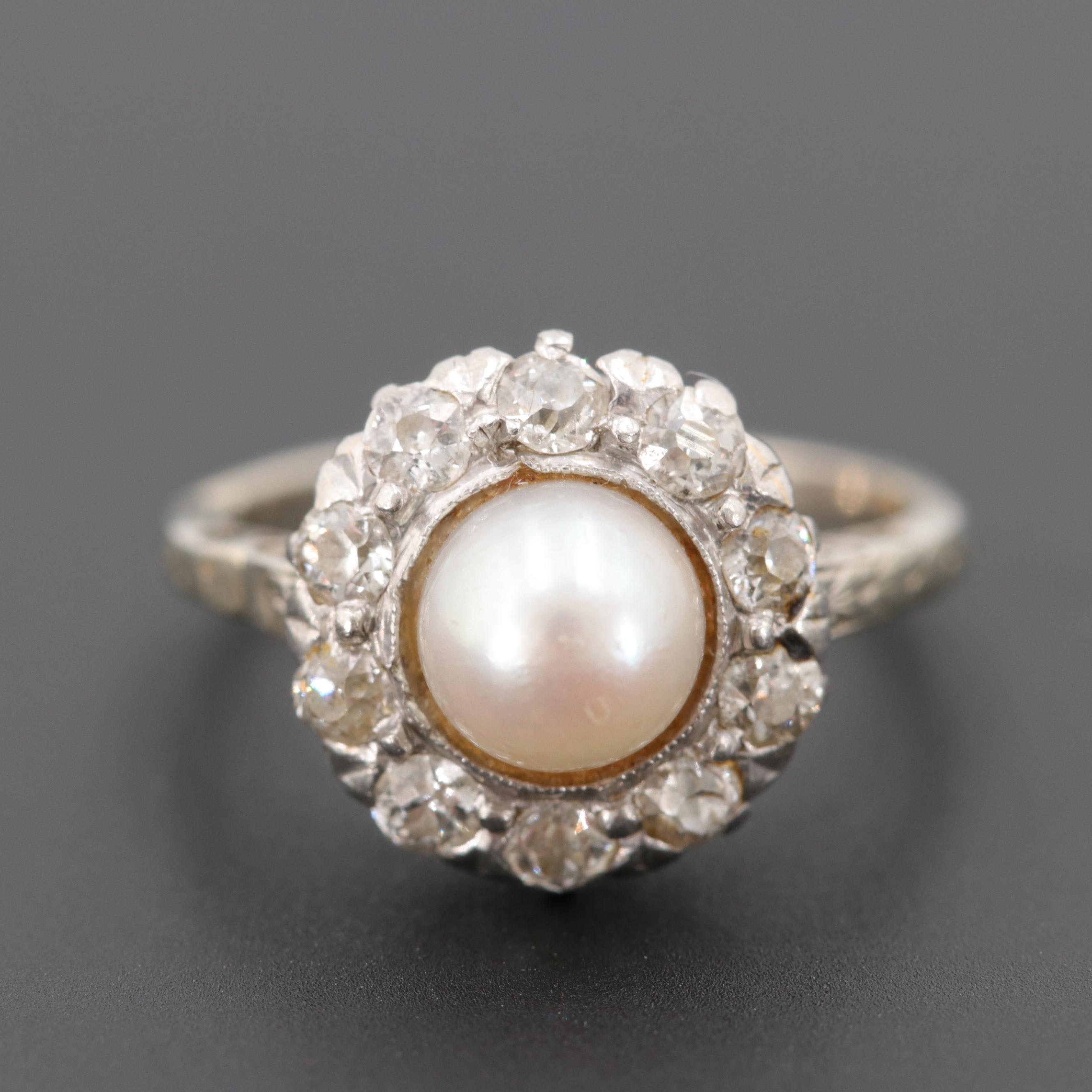 Vintage 14K White Gold Cultured Pearl and Diamond Ring with Platinum Top Rim