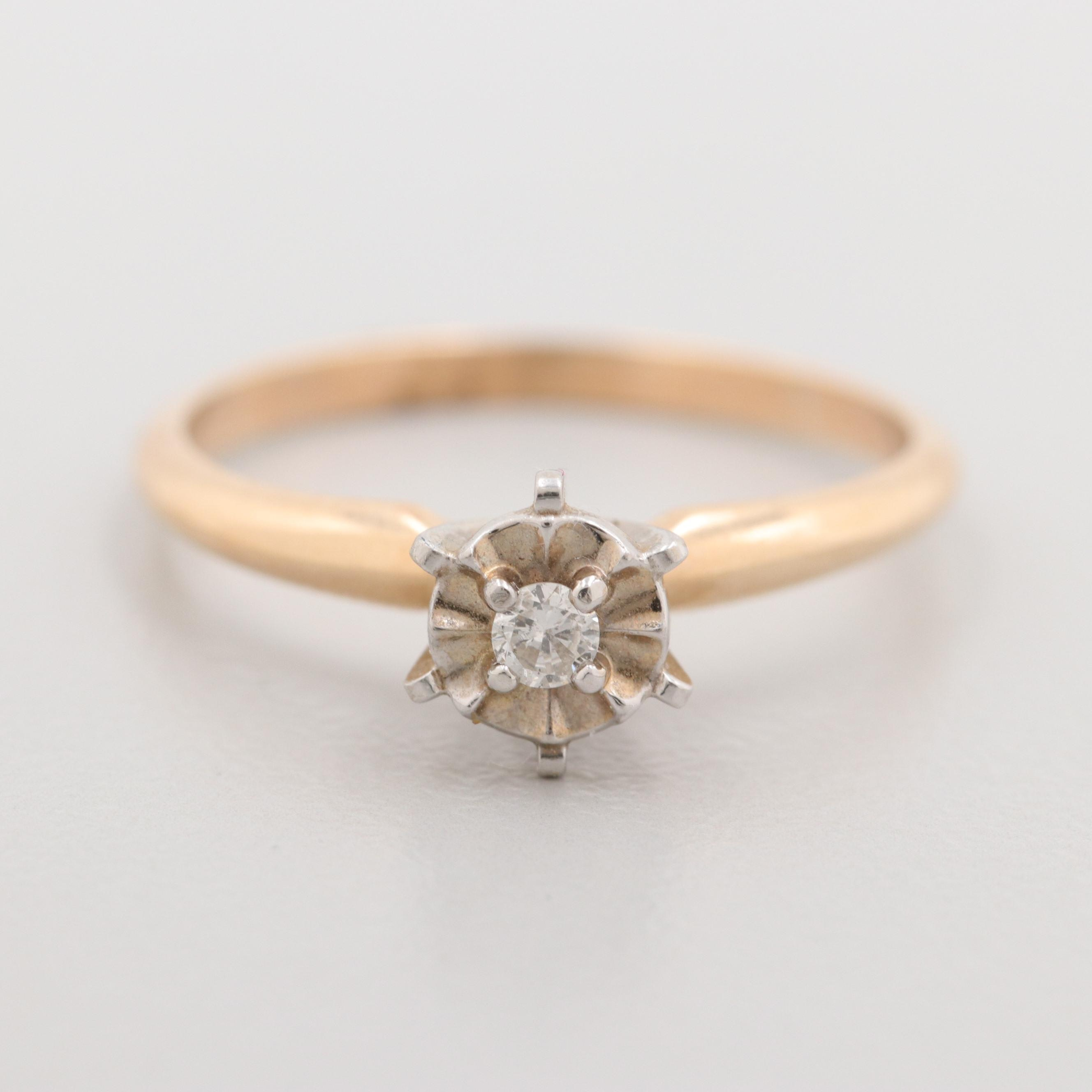10K Yellow Gold Diamond Solitaire Ring with White Gold Accent