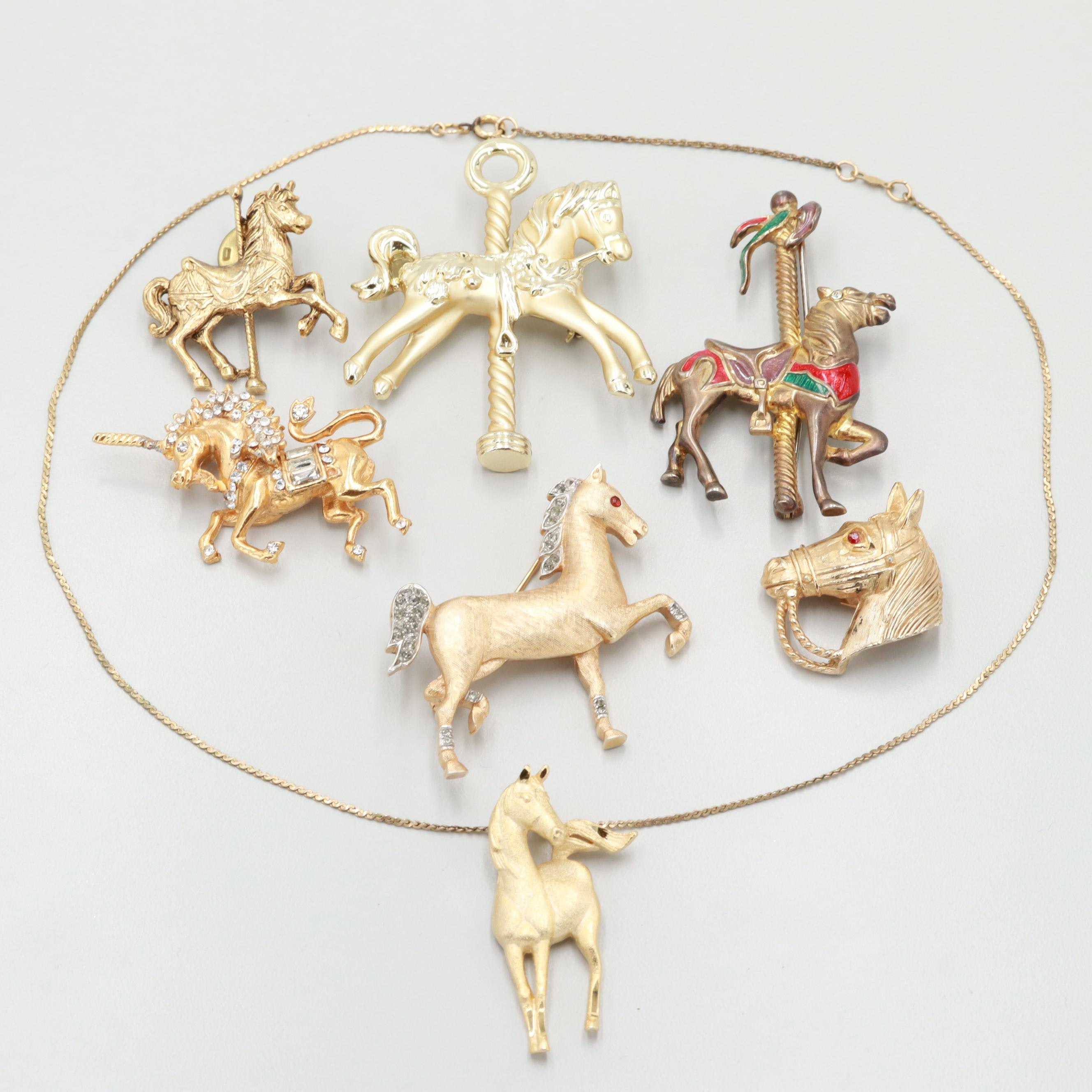 Gold Tone Foiledback Glass and Enamel Horse Themed Jewelry Featuring Trifari
