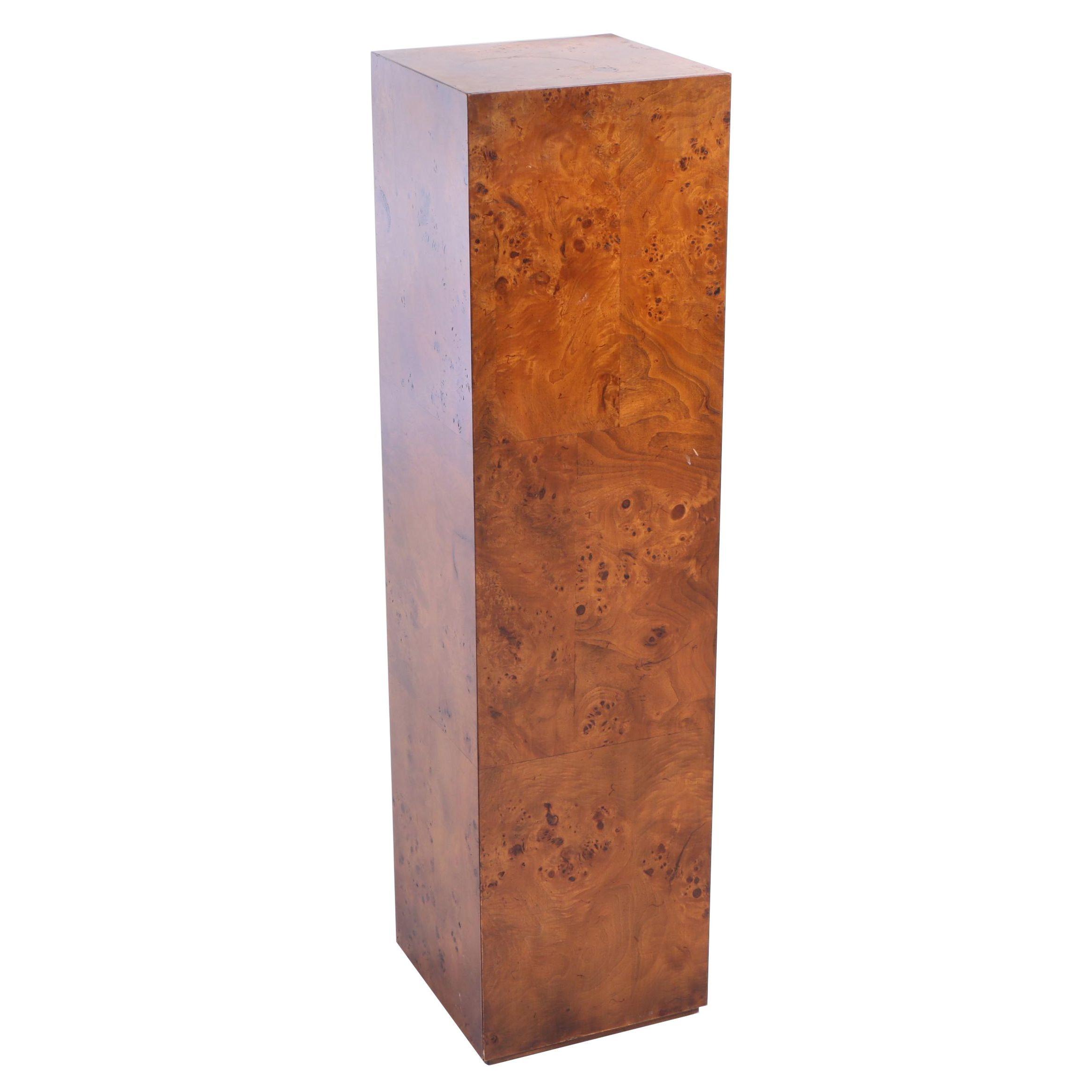 Burlwood Display Pedestal, Late 20th Century