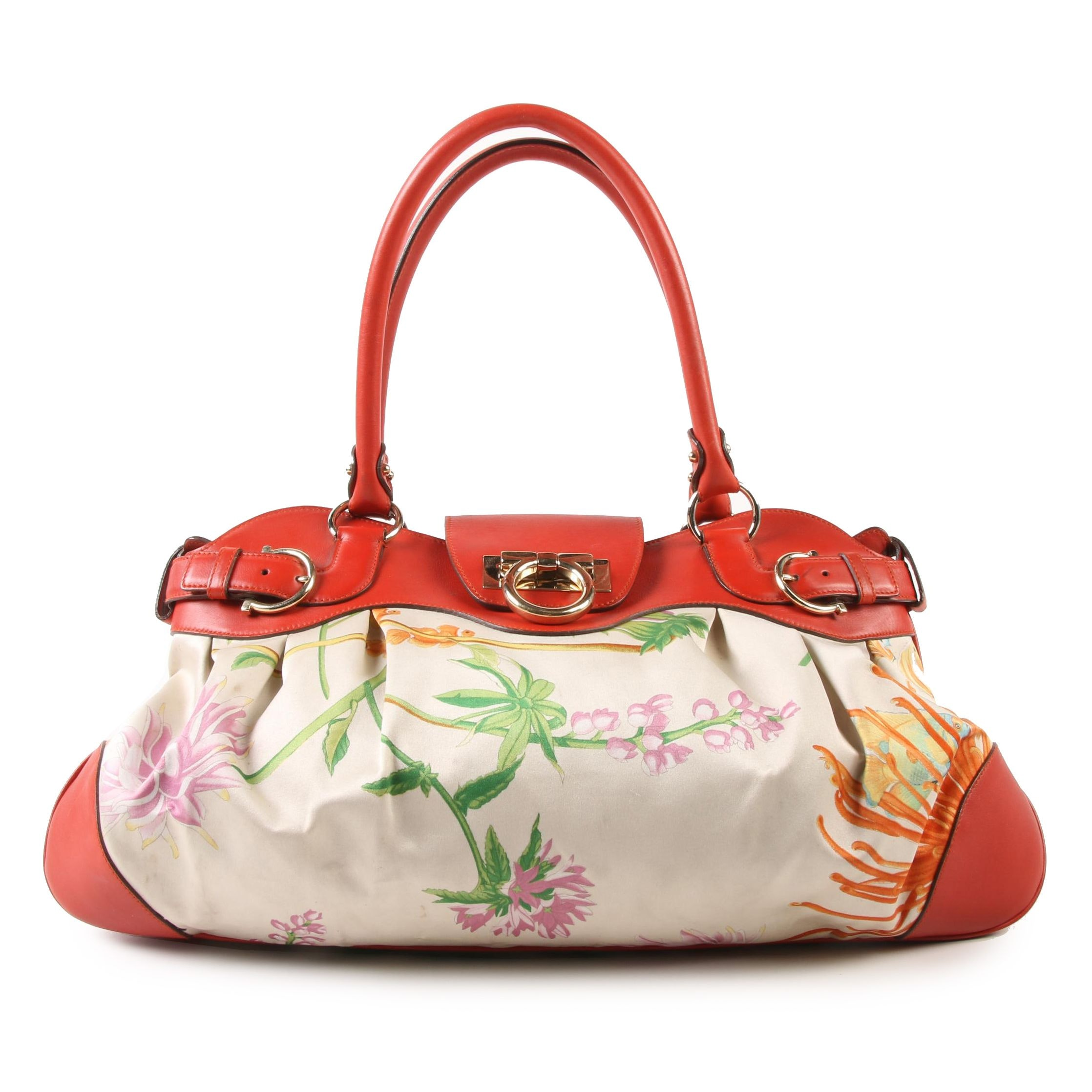 Salvatore Ferragamo Marisa Bag in Red-Orange Leather and Satin Floral Fish Print