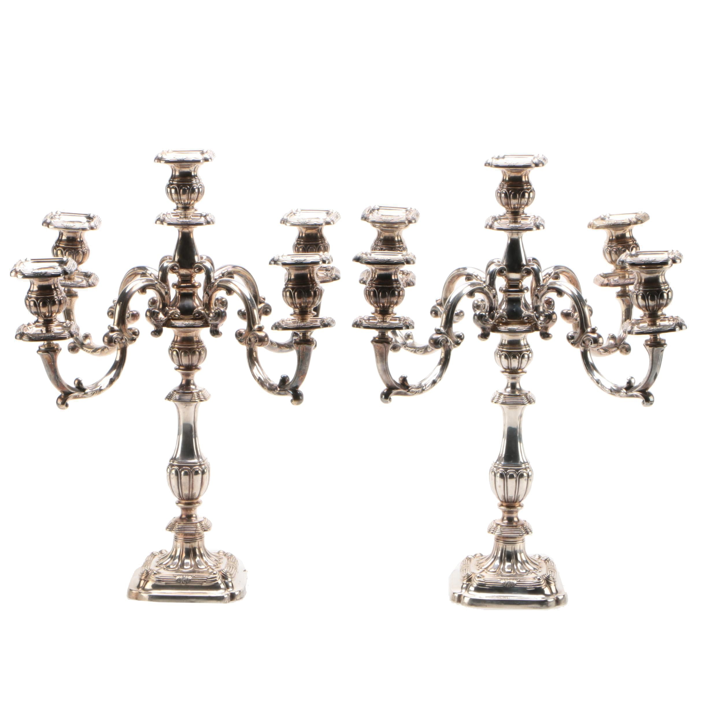 Neoclassical Style Silver Plate Candelabra, Late 19th/Early 20th Century