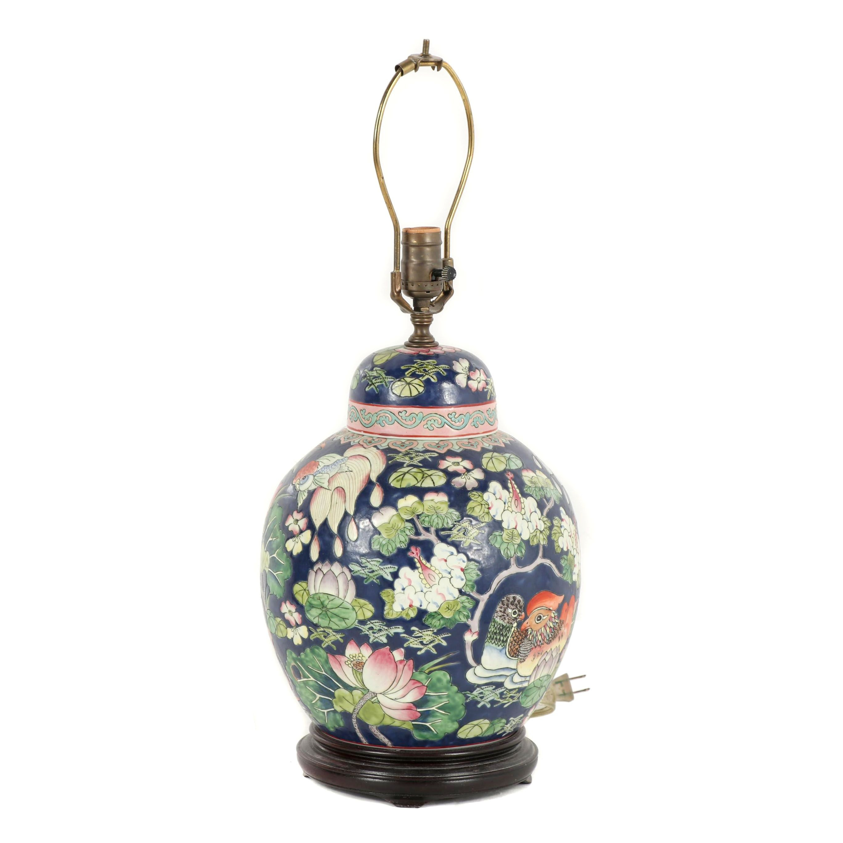 Chinese Porcelain Converted Ginger Jar Table Lamp