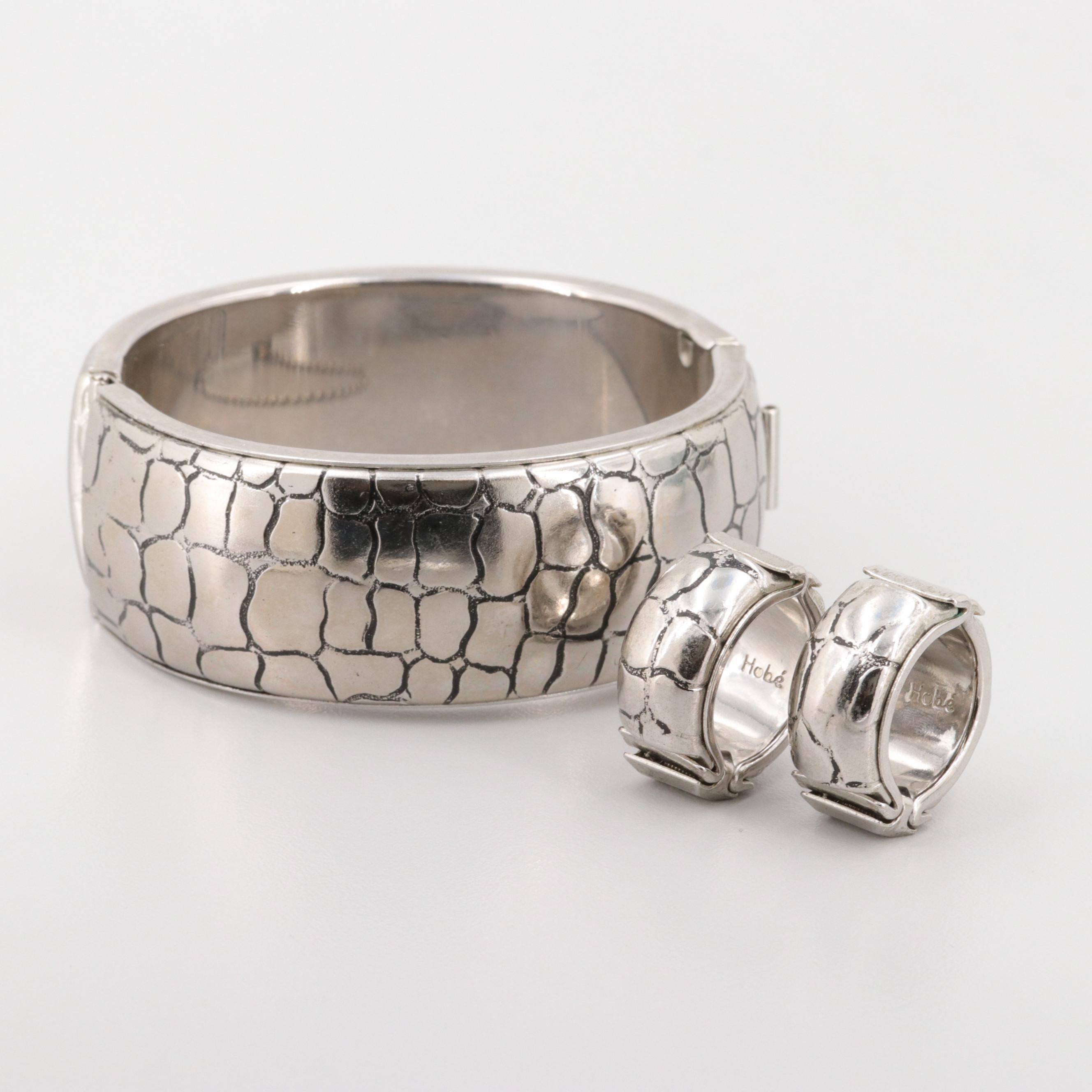 Hobé Silver Tone Bangle Bracelet and Earrings