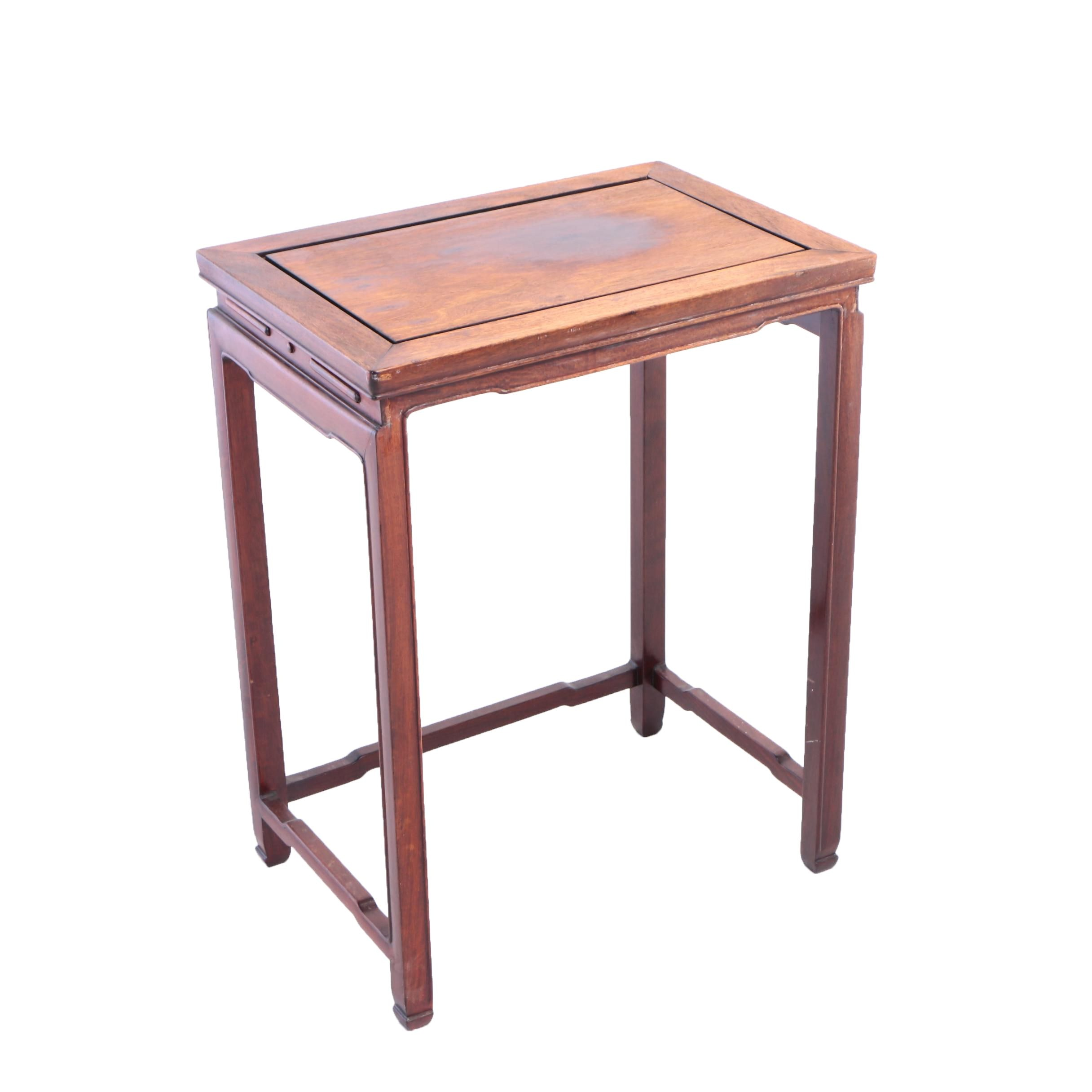 Chinese Stained Hardwood Side Table, 20th Century