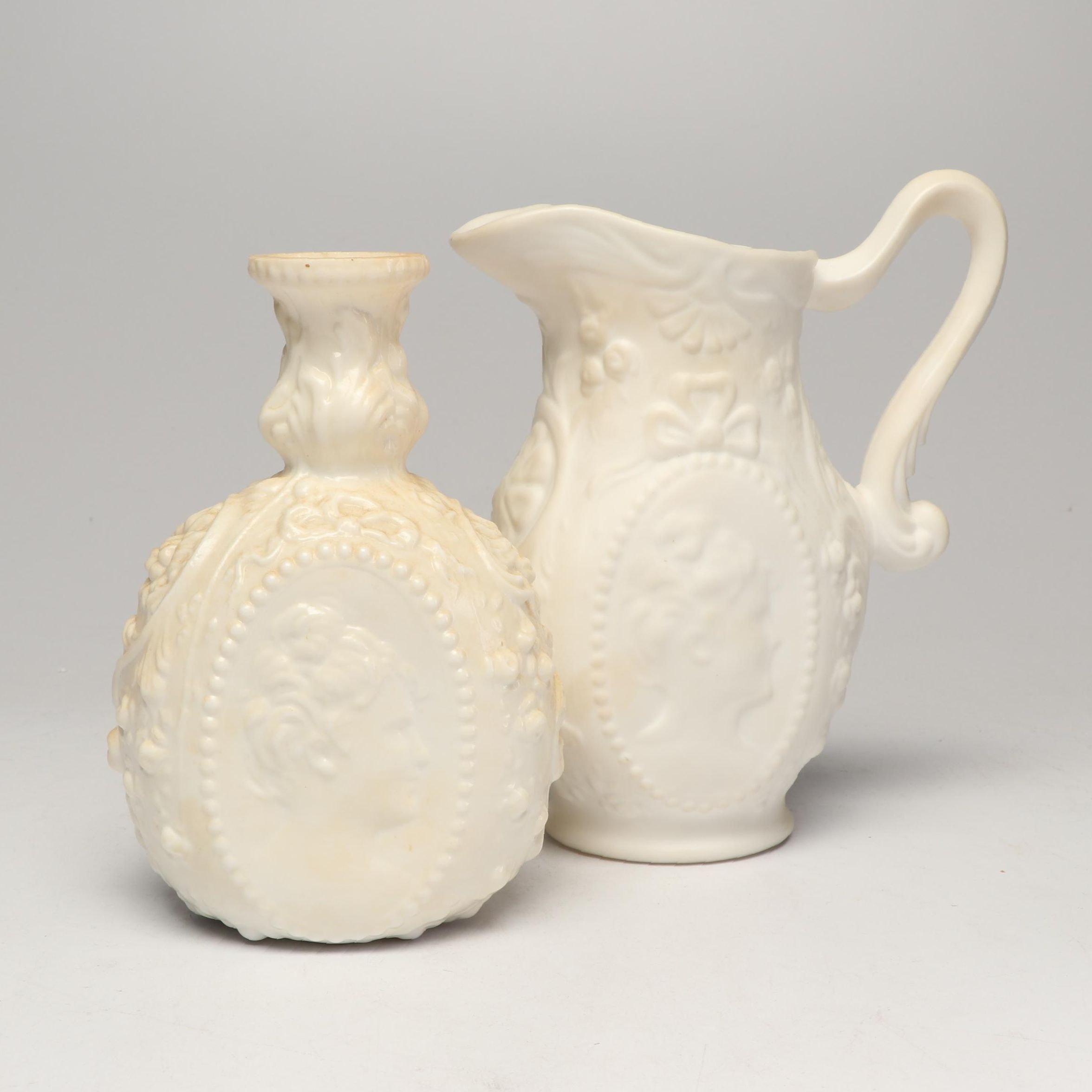"Fostoria ""Jenny Lind Milkglass"" Vase and Pitcher, Circa 1960"