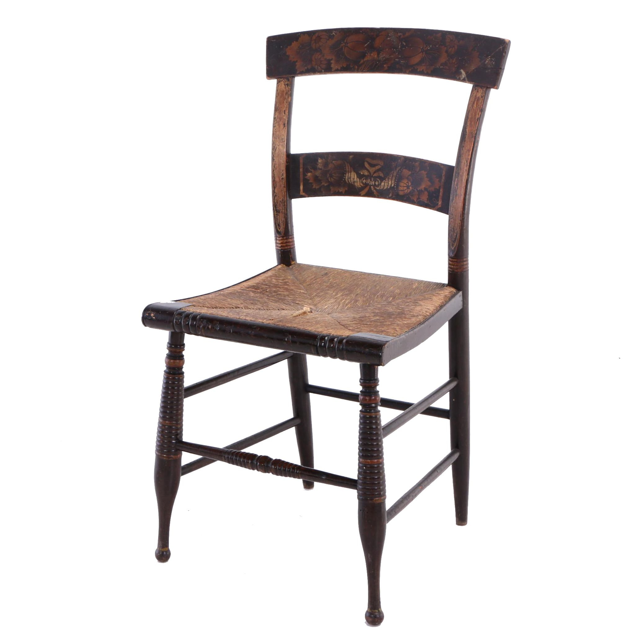American Grain-Painted and Gilt-Stenciled Fancy Side Chair