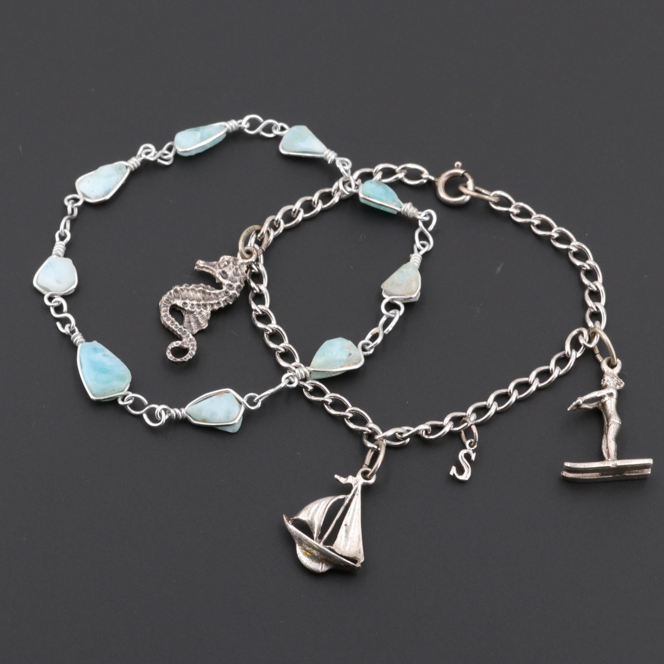 Silver Tone and Sterling Silver Larimar Bracelets Featuring Beau