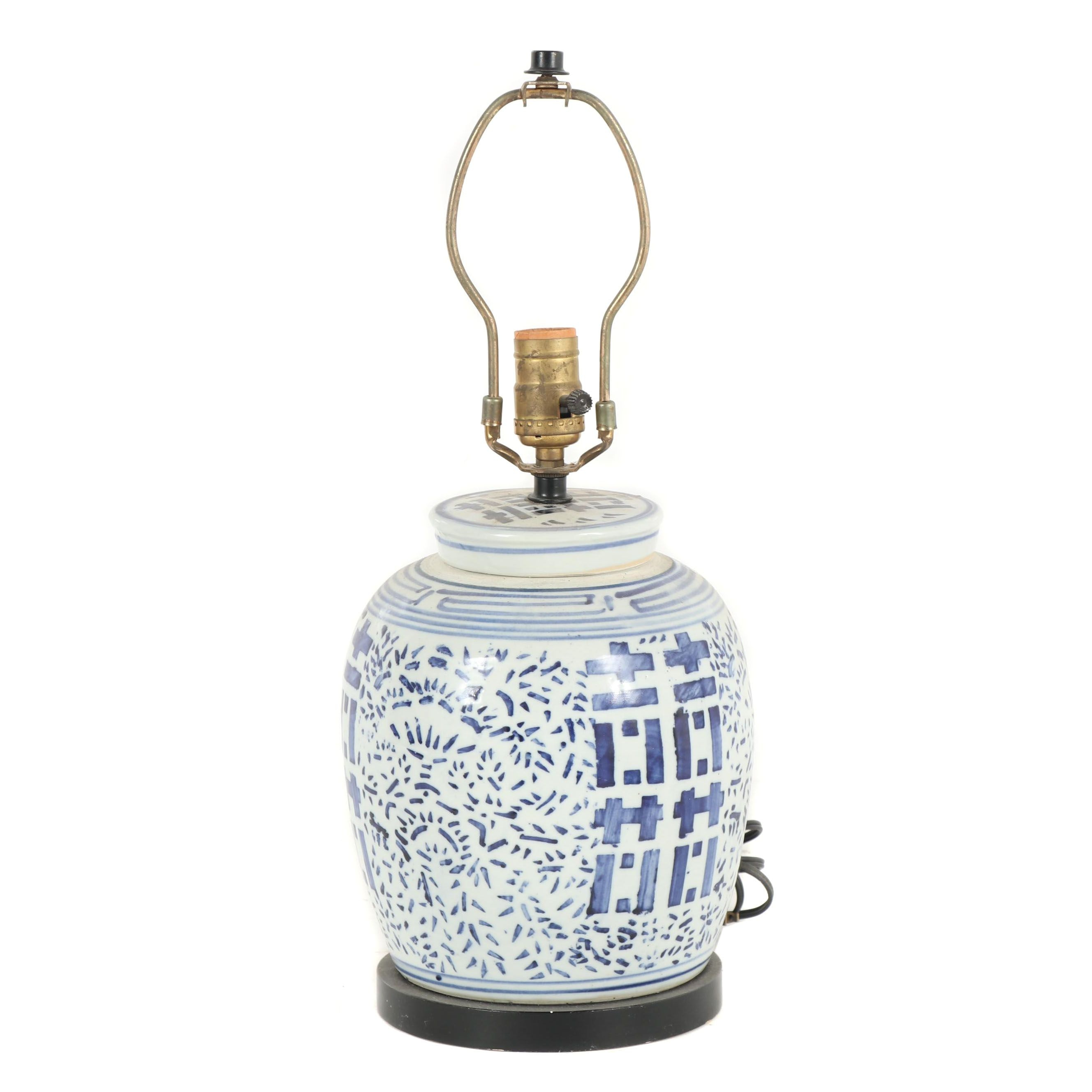 Chinese Blue and White Porcelain Ginger Jar Table Lamp