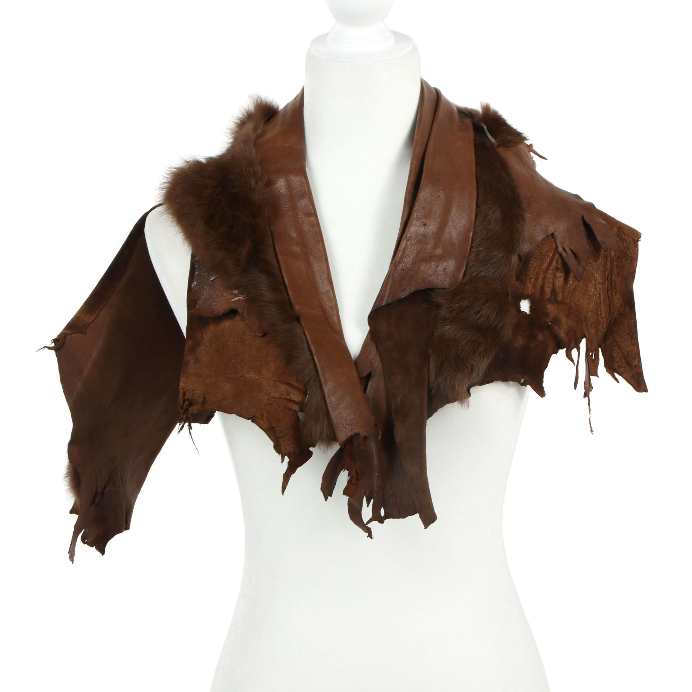Handmade Dyed Leather and Rabbit Fur Costume Accessory