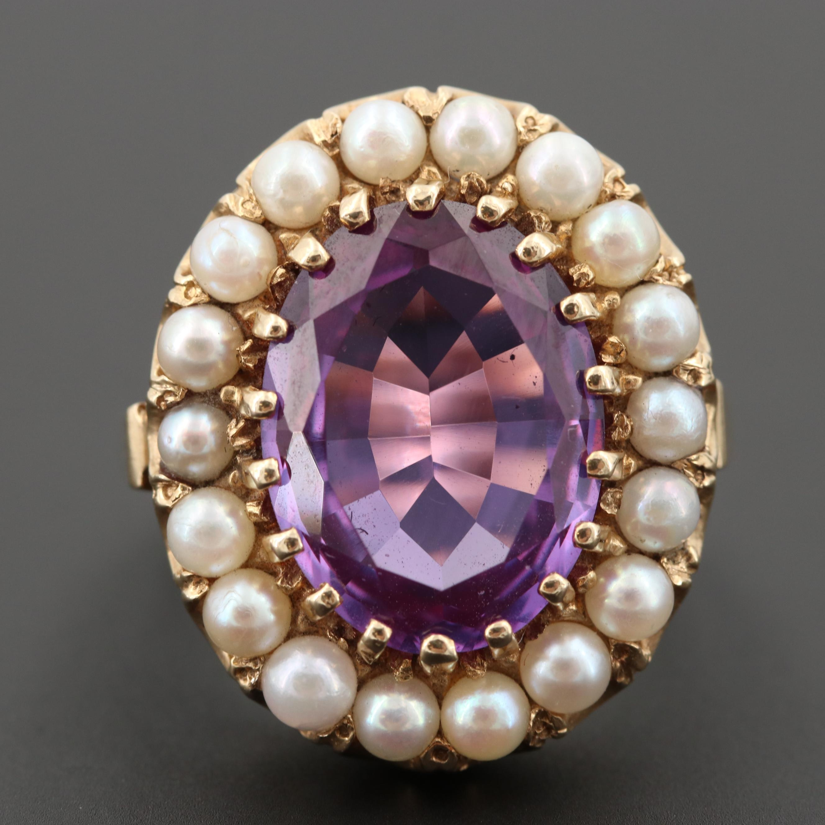 14K Yellow Gold Synthetic Corundum Ring with Cultured Pearl Halo