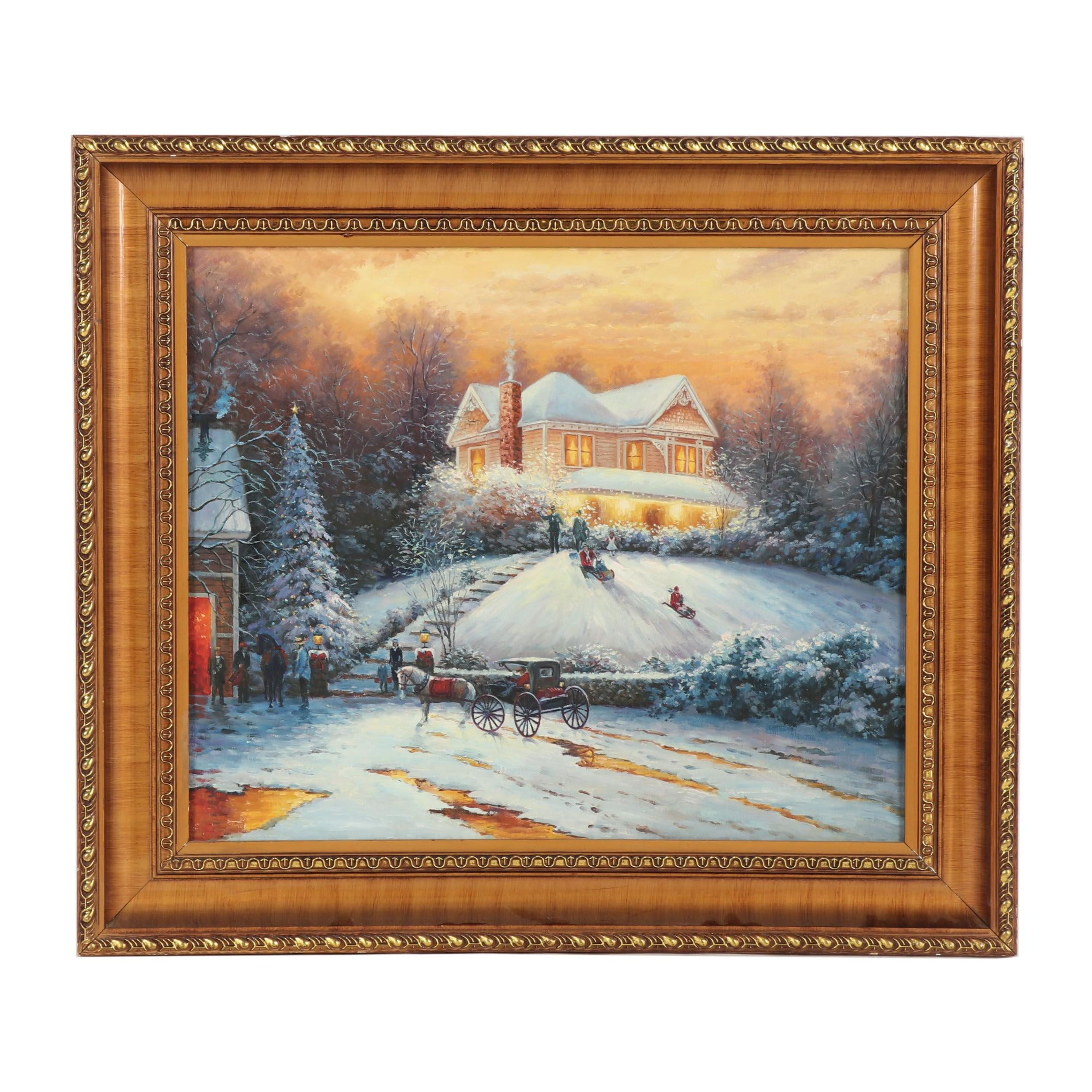 "Copy Oil Painting after Thomas Kinkade ""Victorian Christmas II"""