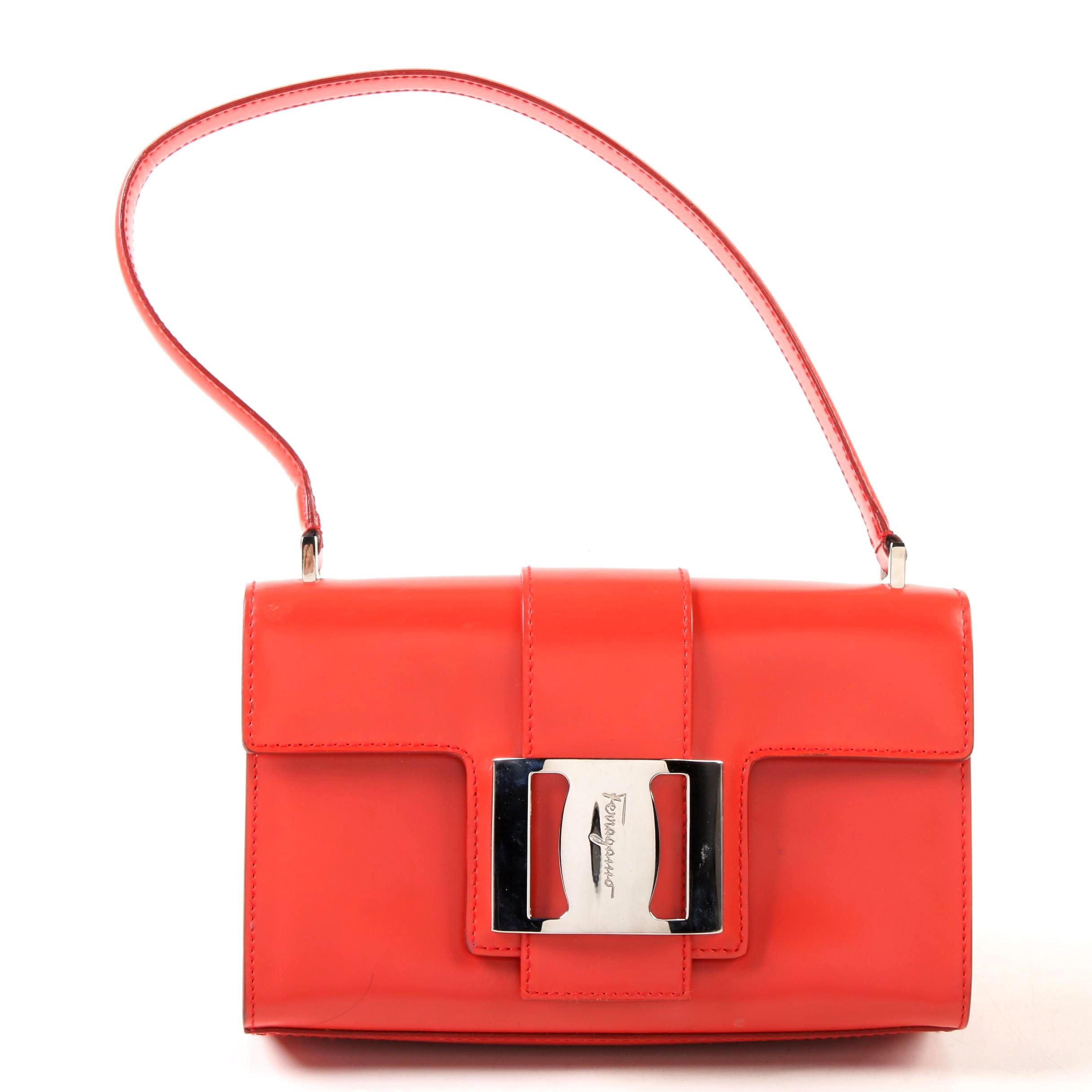 Salvatore Ferragamo Leather Buckle Flap Handbag