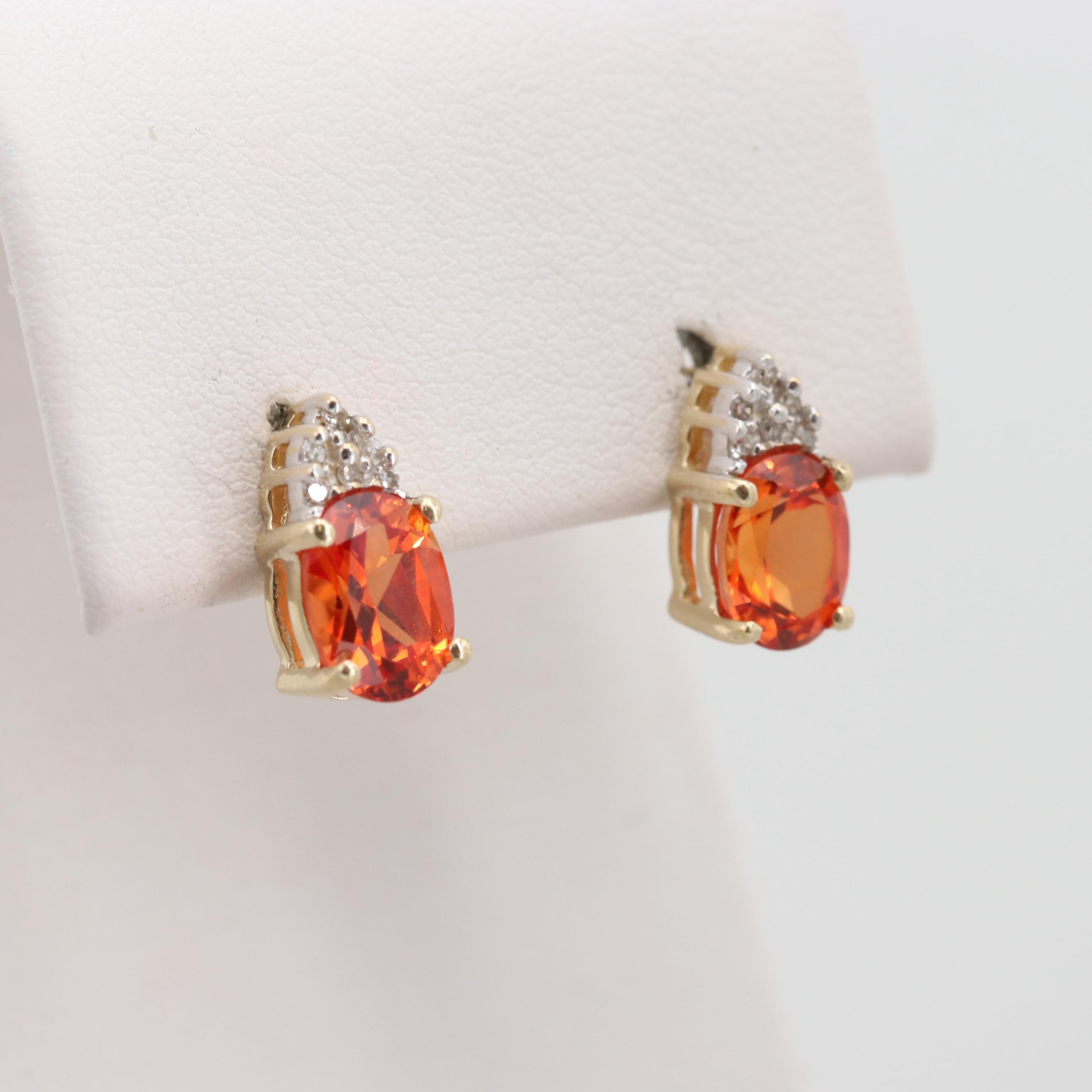 14K Yellow Gold Synthetic Orange Sapphire and Diamond Stud Earrings