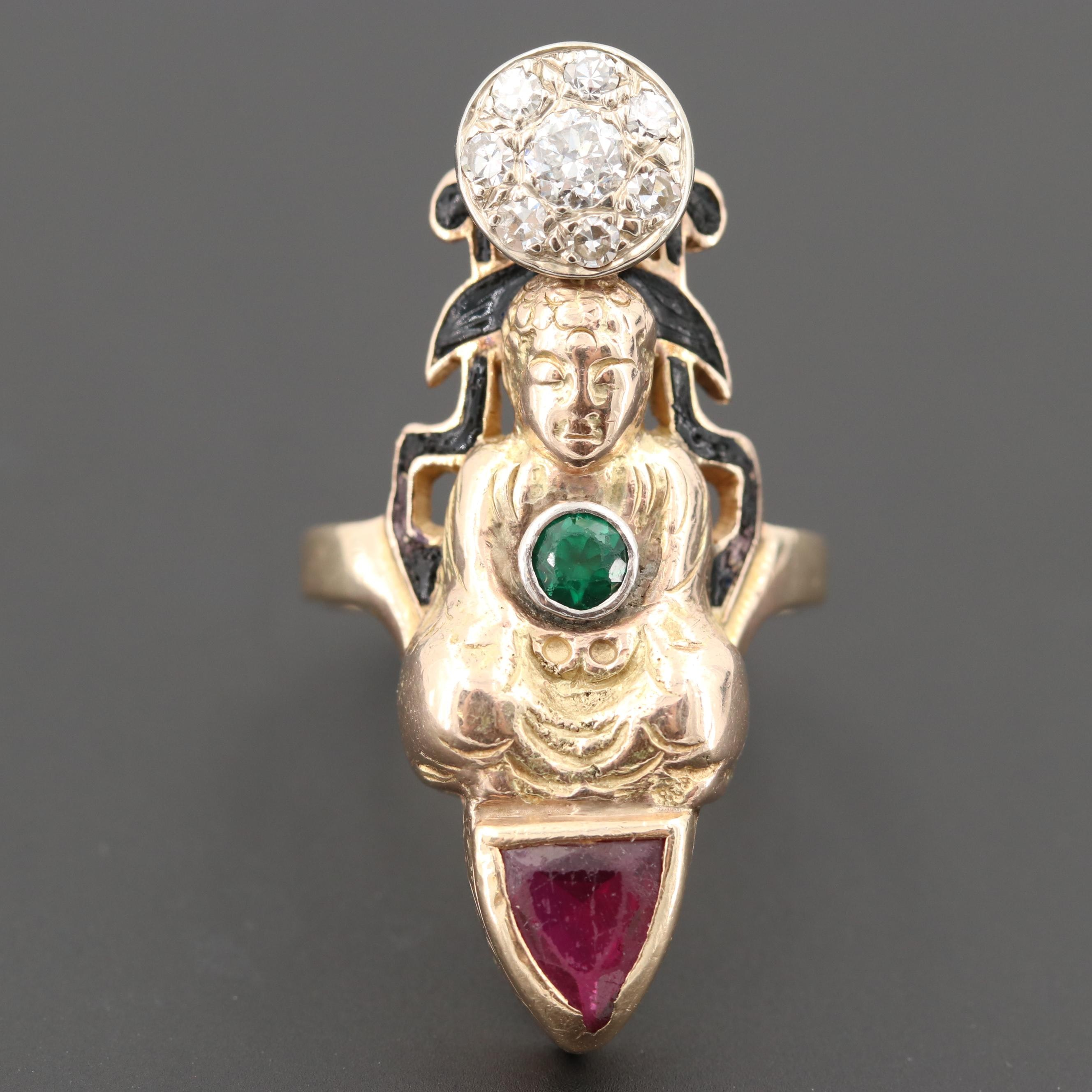 Vintage 10K Gold Synthetic Ruby, Synthetic Spinel and Diamond Buddha Motif Ring