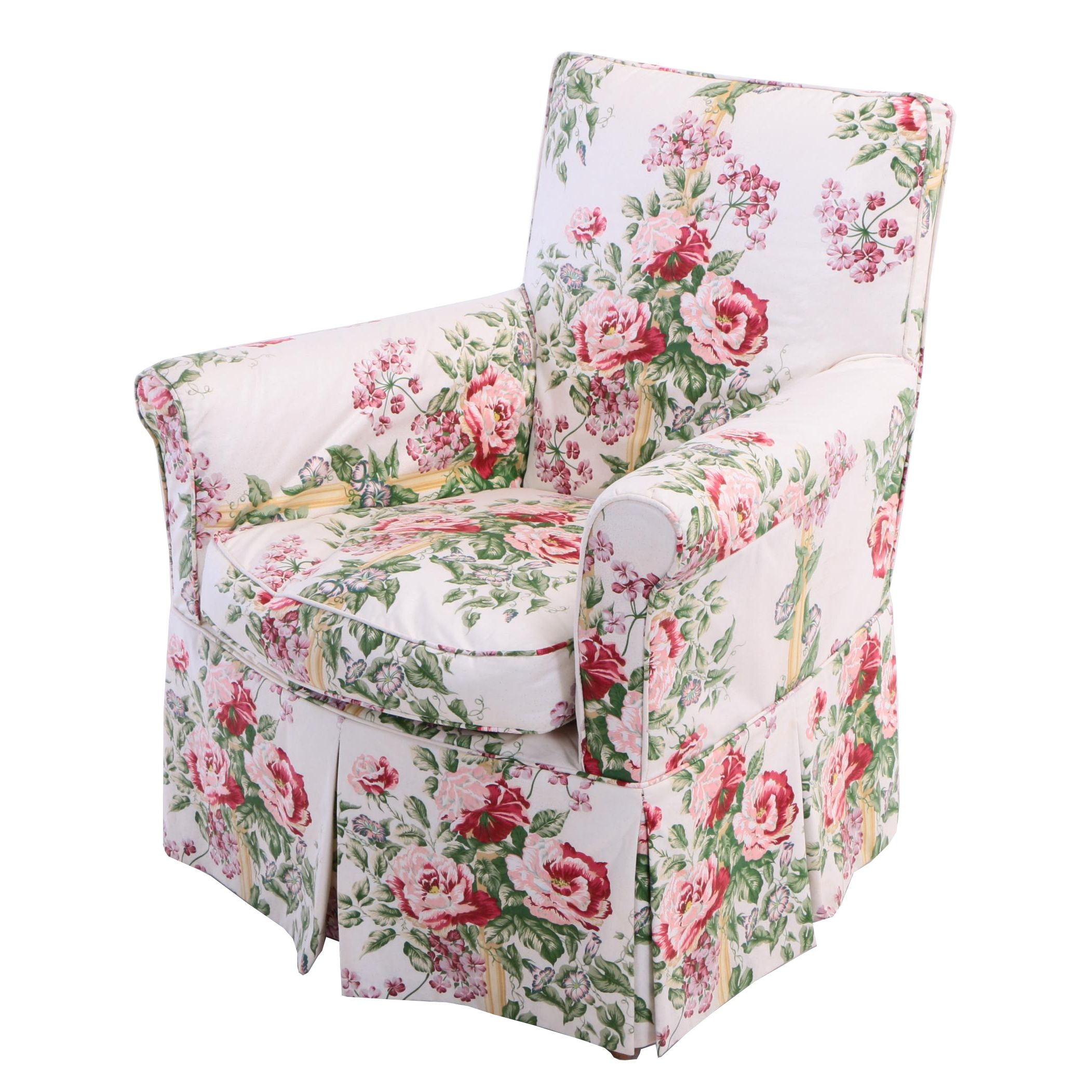 Louis XVI Style Bergère with Floral Slipcover, 20th Century