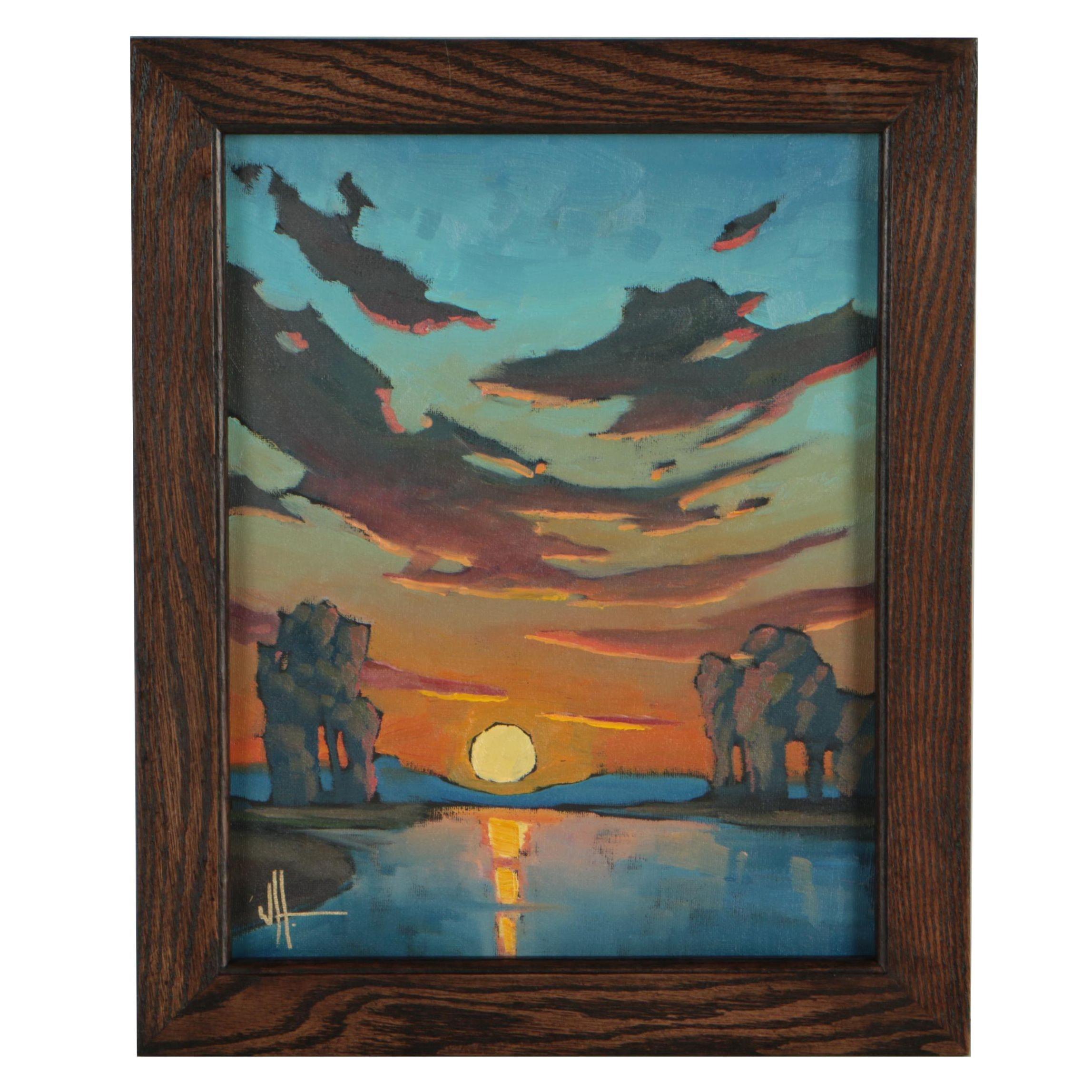 "William Hawkins Oil Painting ""Sunset Romancia"""