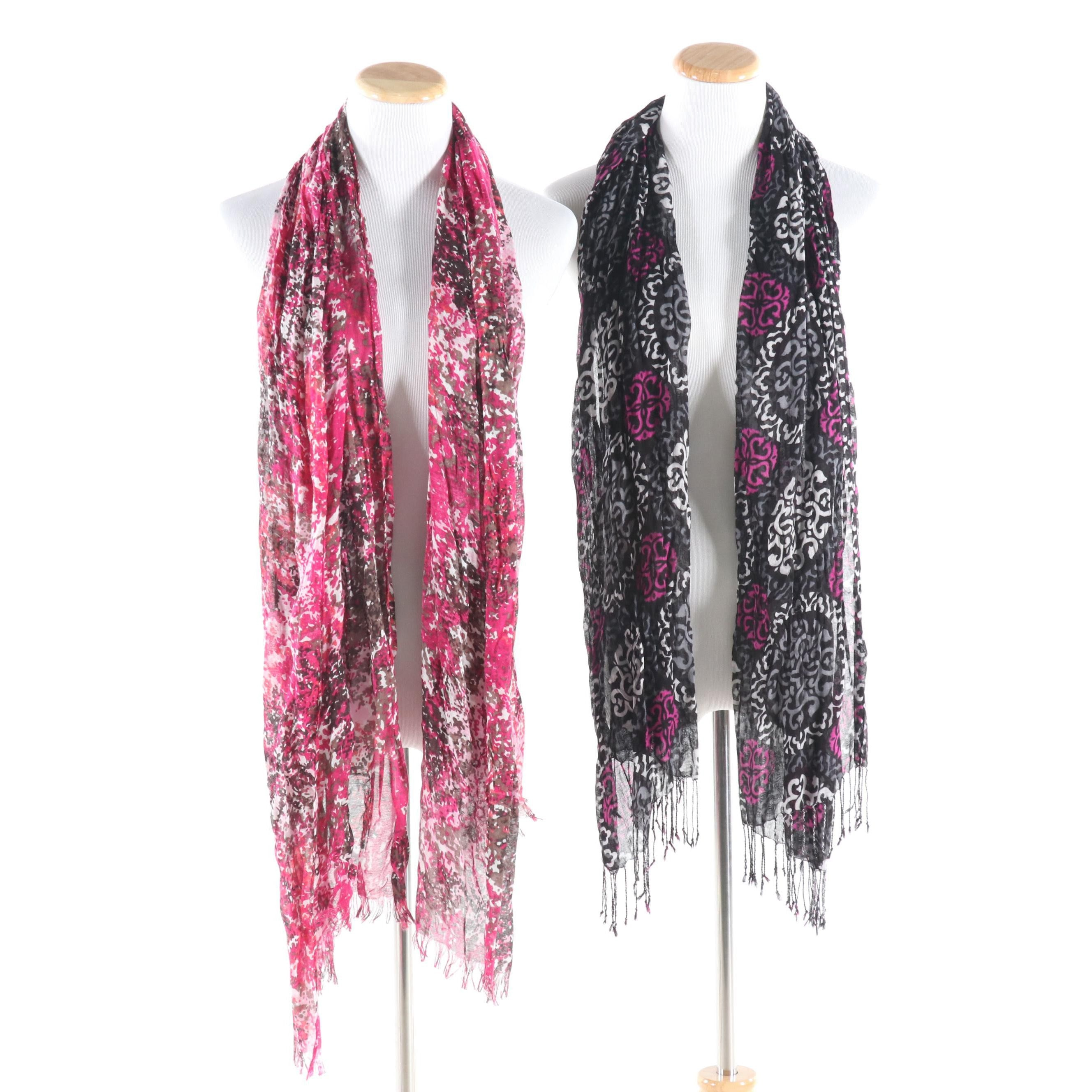 Two Printed Oblong Scarves Featuring Vera Bradley
