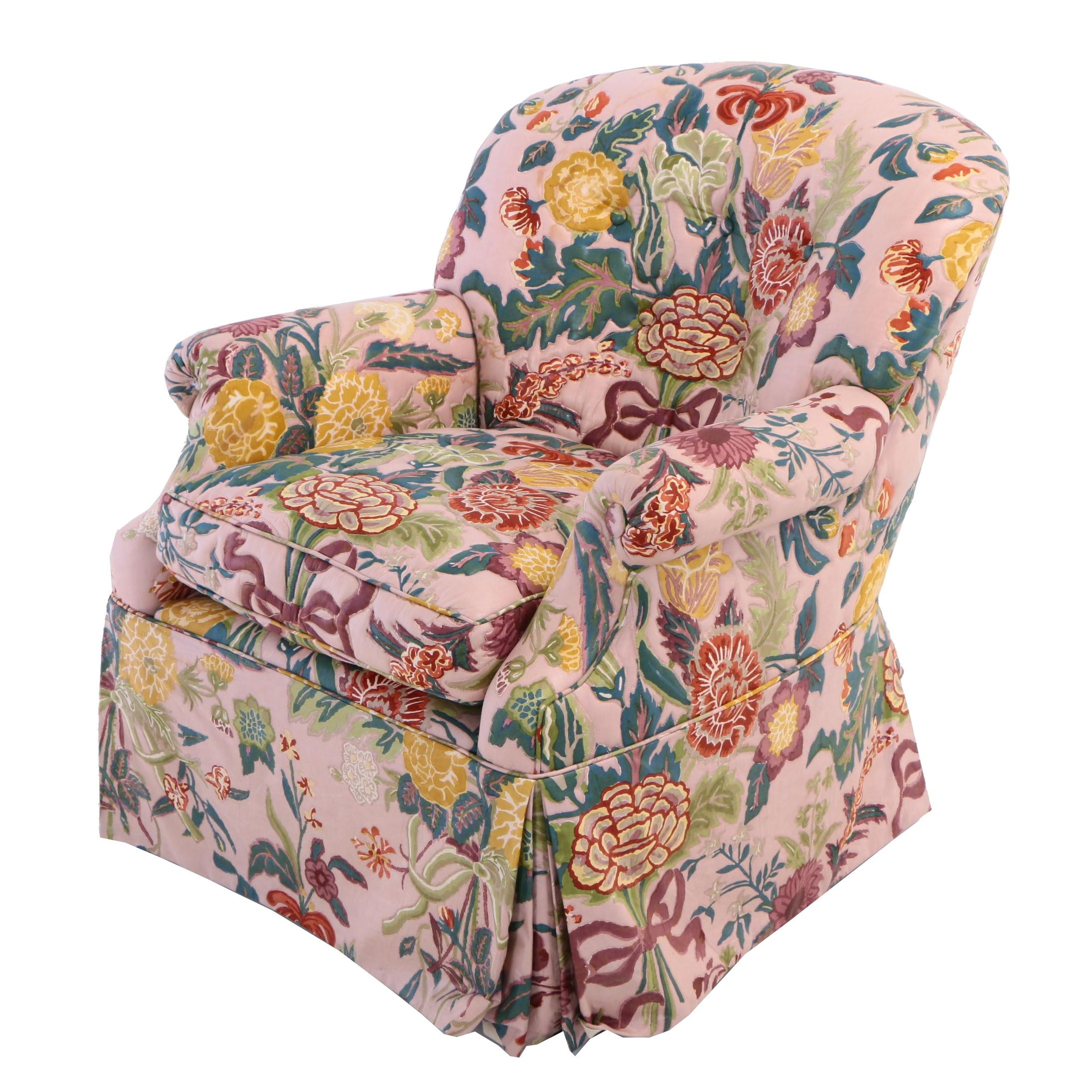 Button-Tufted and Floral-Upholstered Armchair, 20th Century