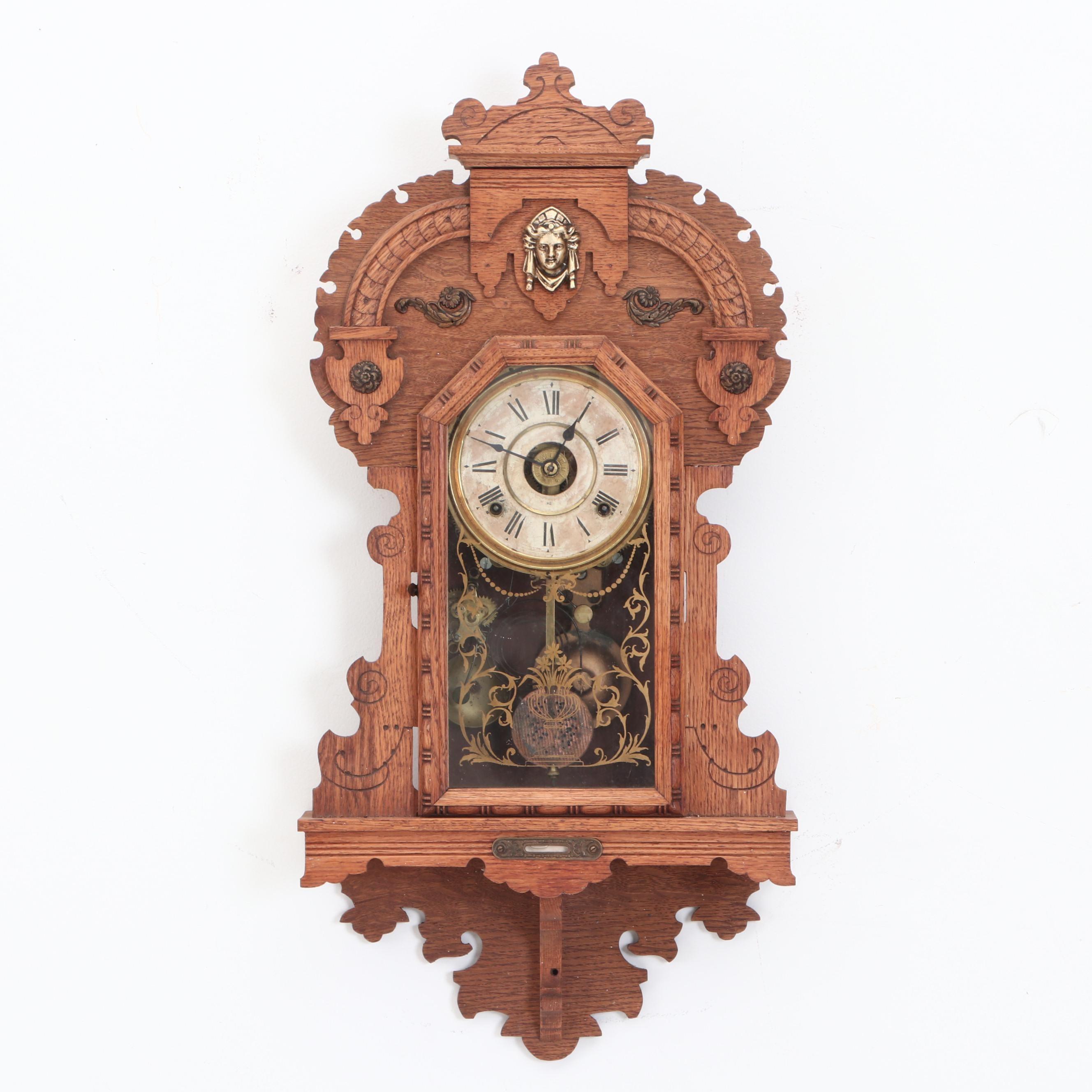"Seth Thomas ""King Bee"" Oak Kitchen Wall Clock"