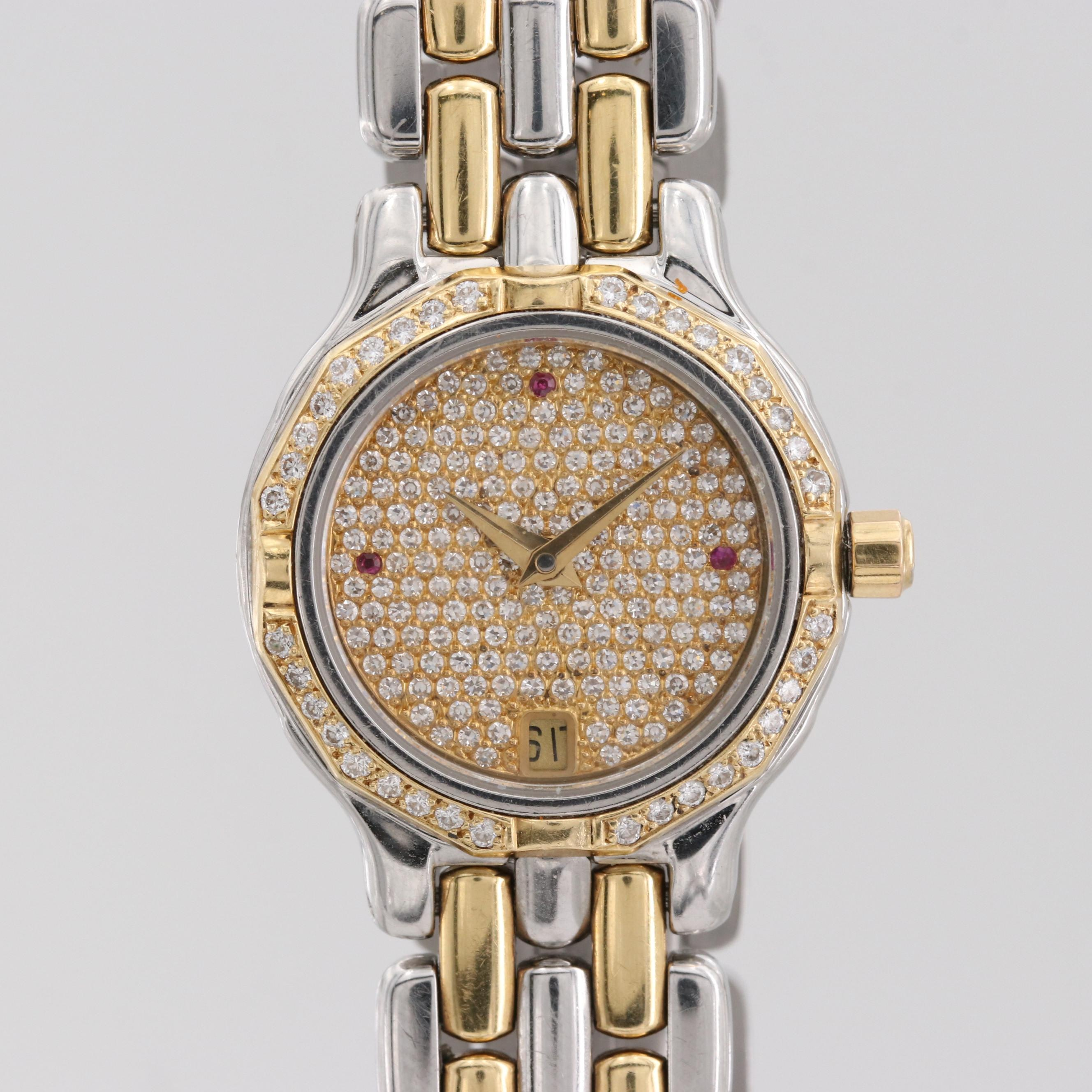 Cyma 18K Yellow Gold Quartz Wristwatch With 1.14 CTW Diamond Bezel and Dial