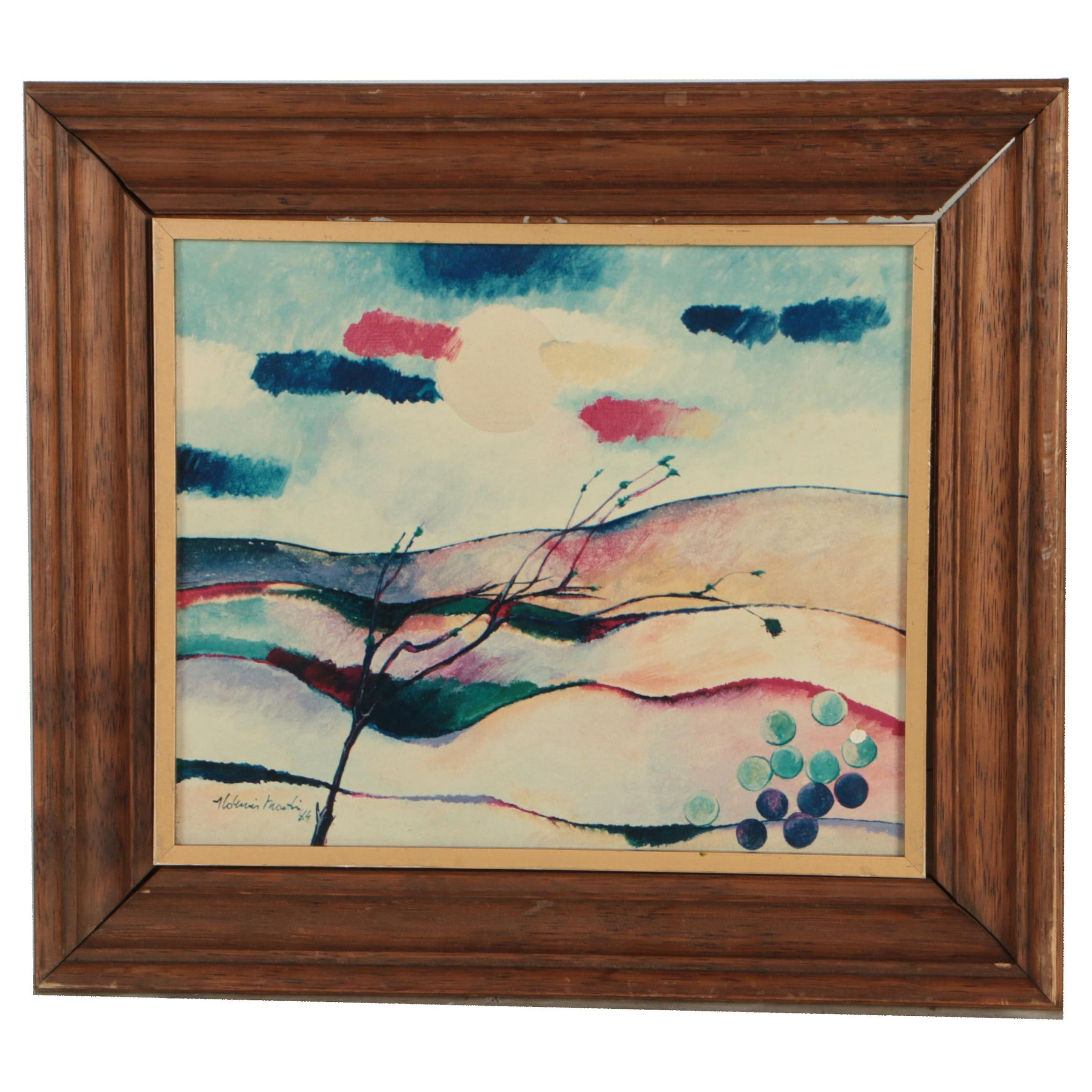 Late 20th Century Giclée of Expressionistic Landscape