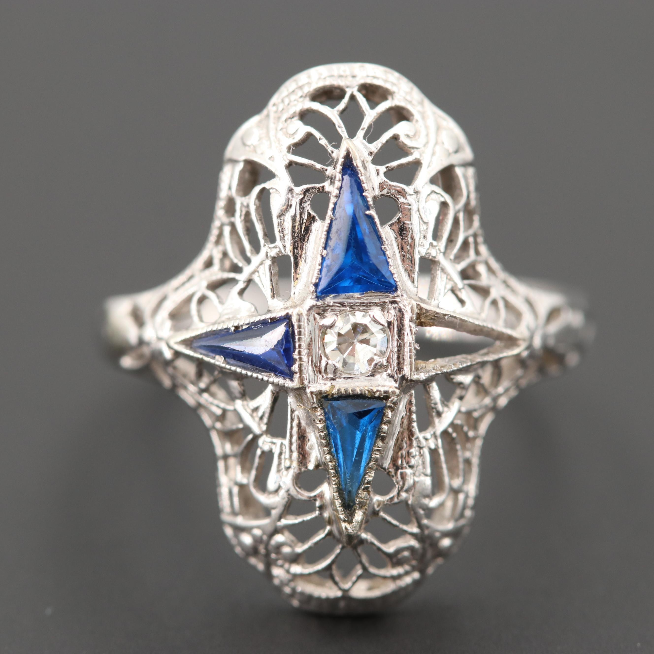 Art Deco 18K White Gold Diamond and Synthetic Blue Spinel Ring