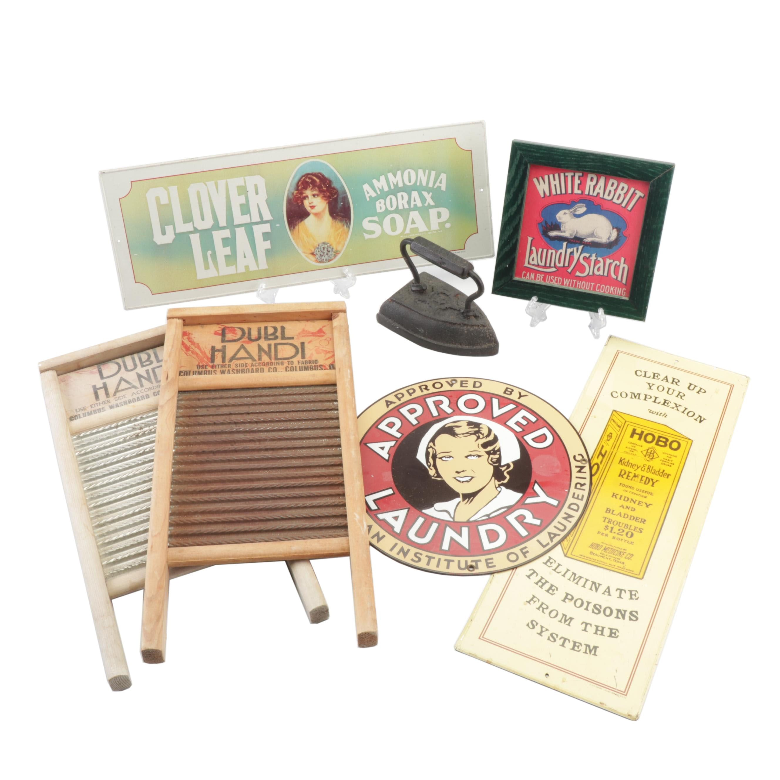 Reproduction Laundry Signs with Sad Iron and Washboards