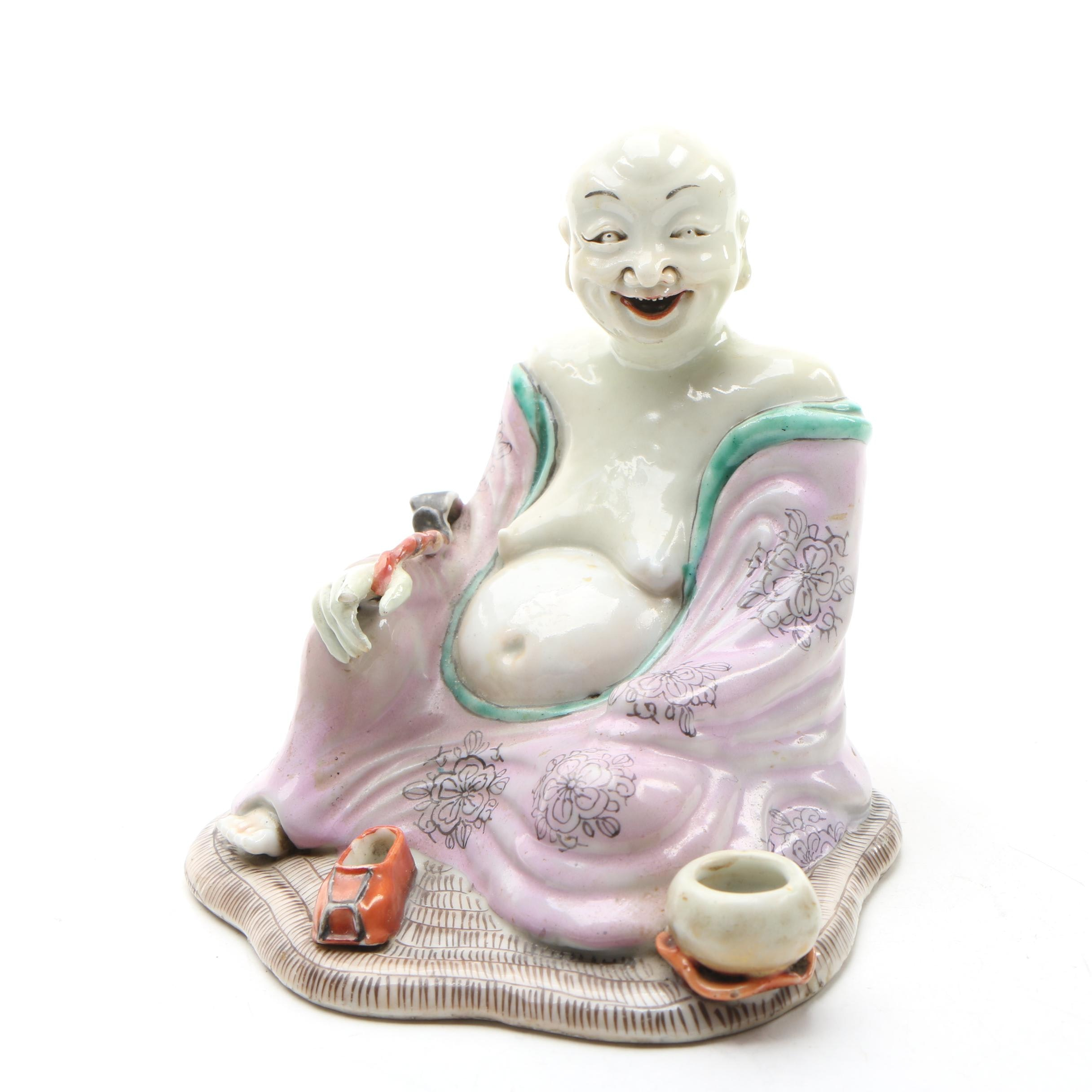 Chinese Famille Rose Porcelain Luohan Figurine, 19th Century