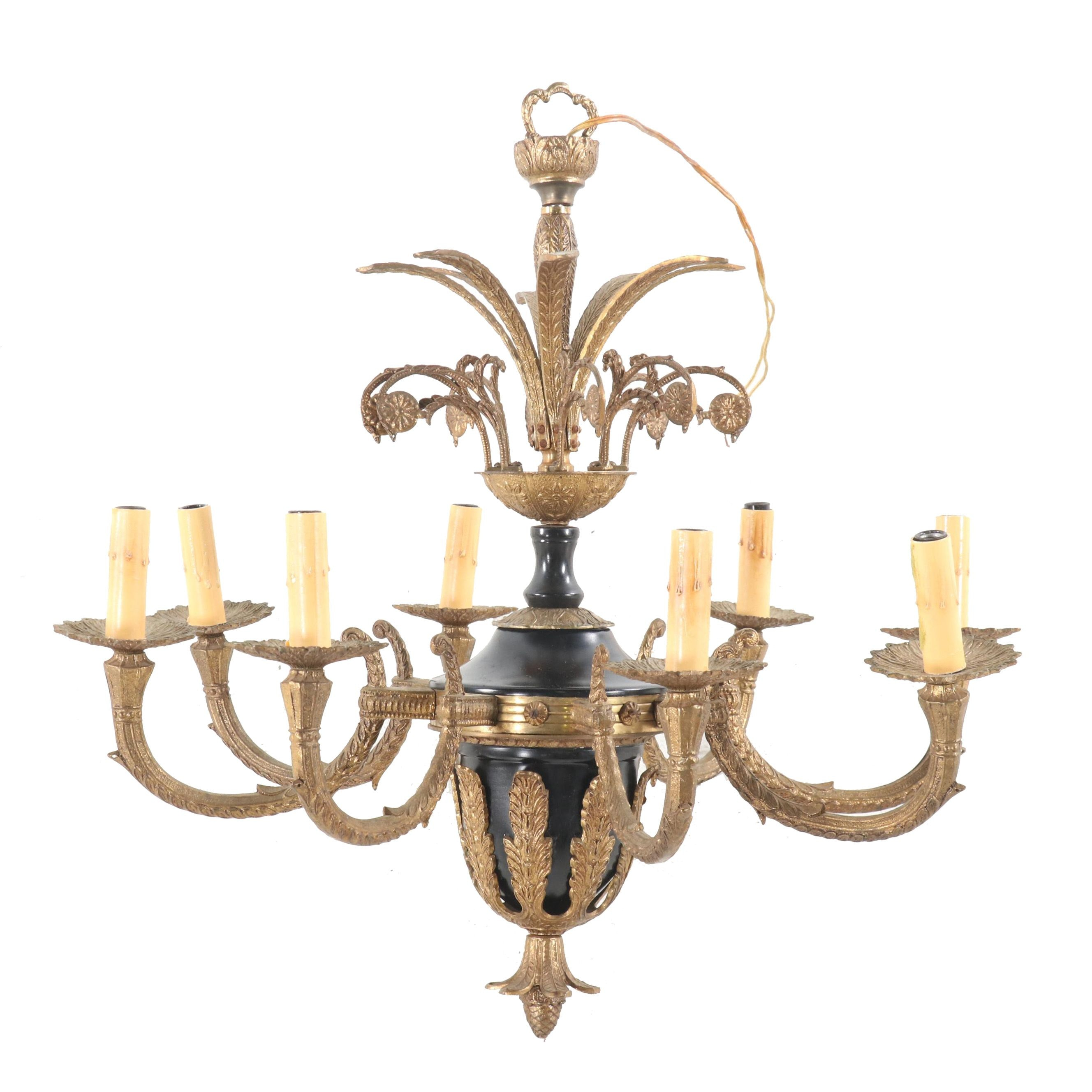 Brass and Metal Neoclassical Style Faux Candle Chandelier, Mid-Century
