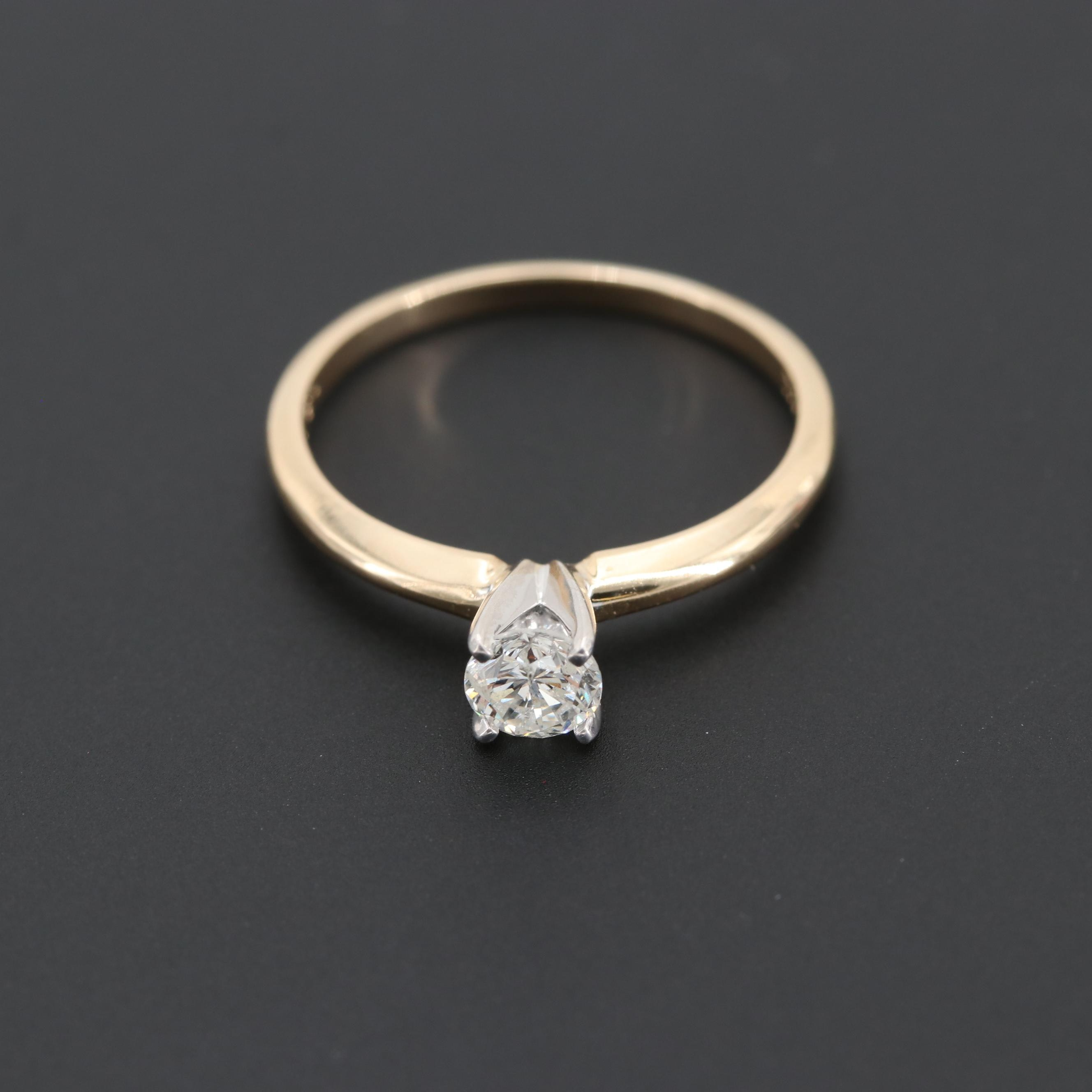14K Yellow Gold Diamond Solitaire Ring with 10K White Gold Accent