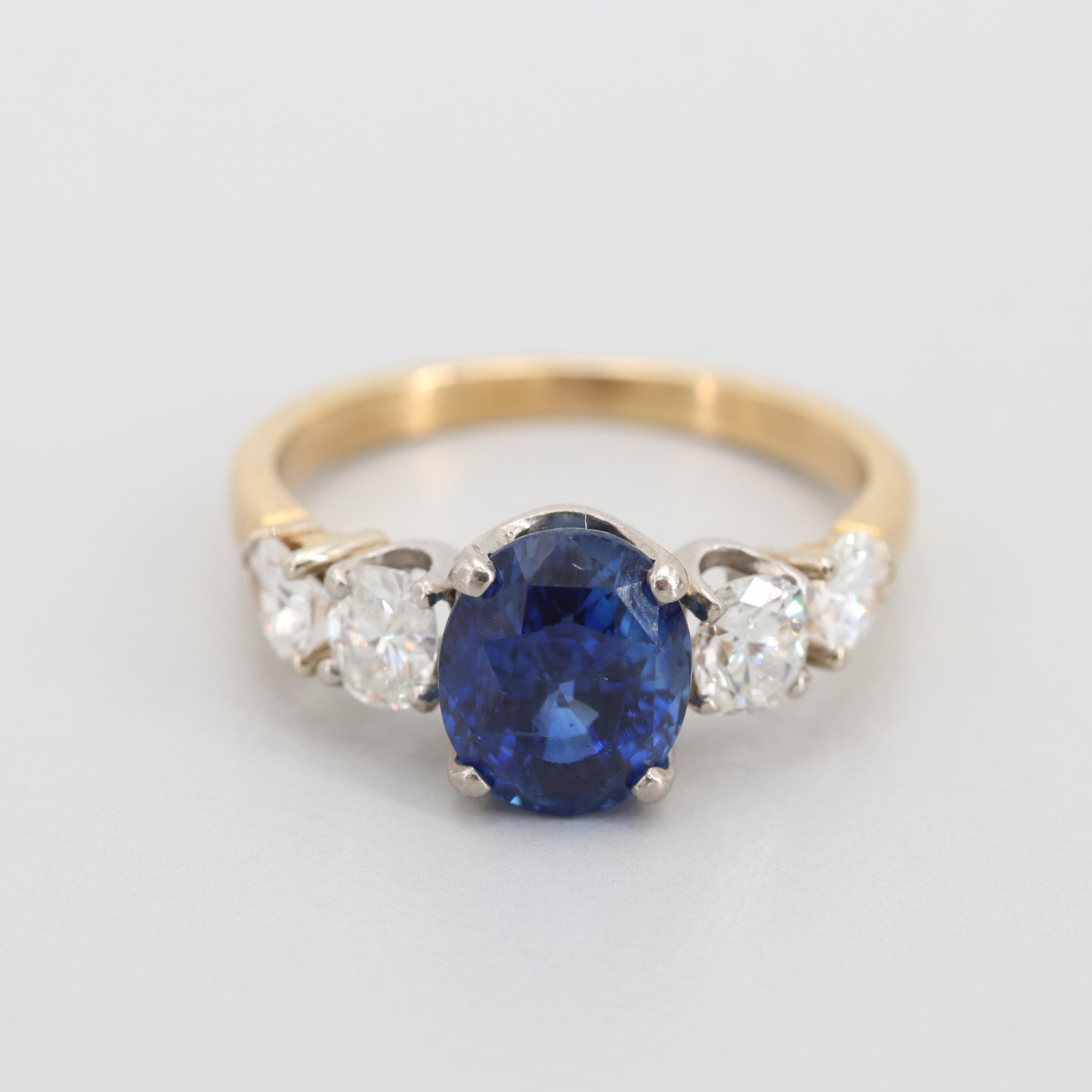 14K Yellow Gold 3.07 CT Blue Sapphire and Diamond Ring with Palladium Accent