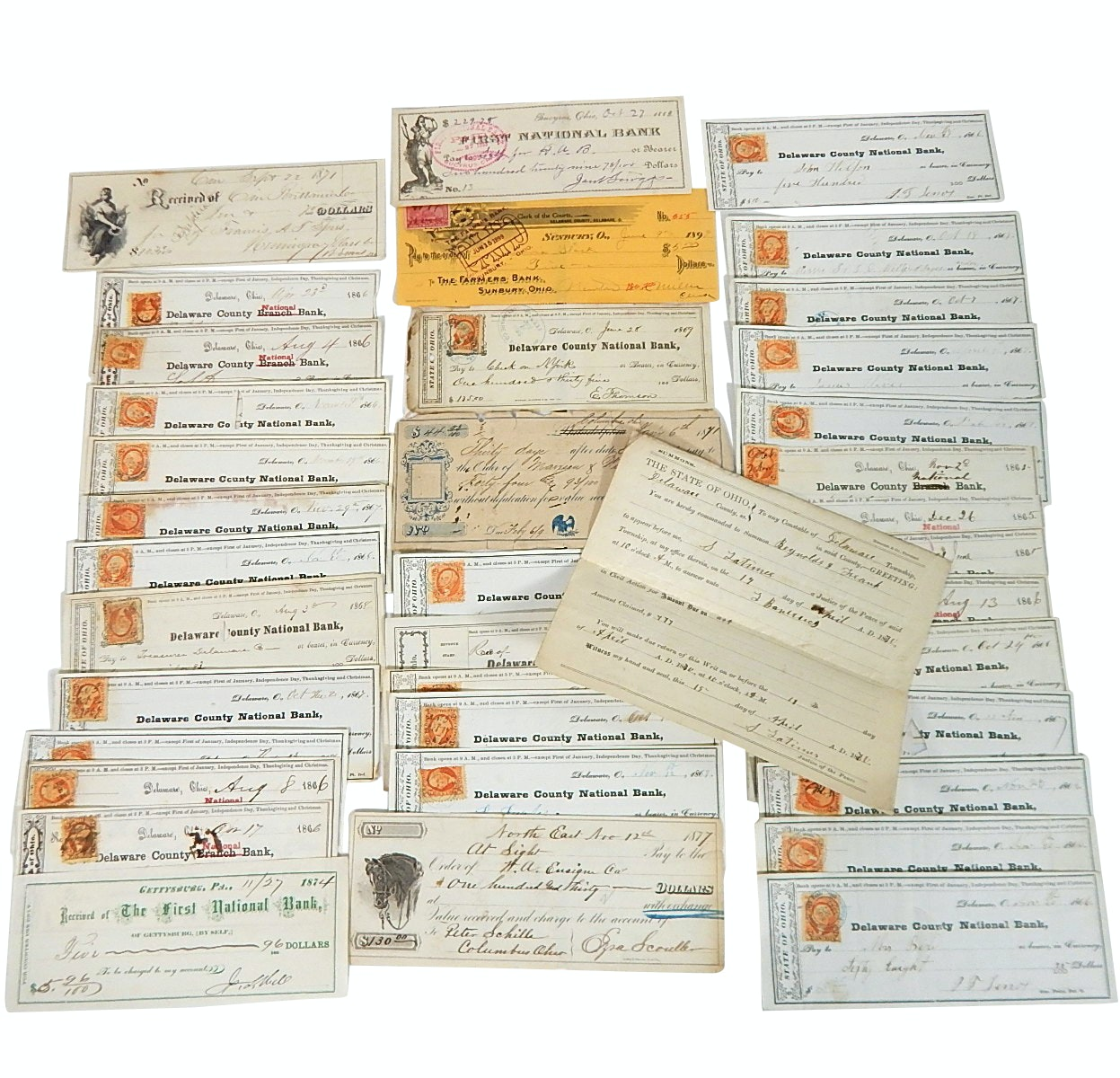 Late 1800s Post-Civil War Cancelled Checks