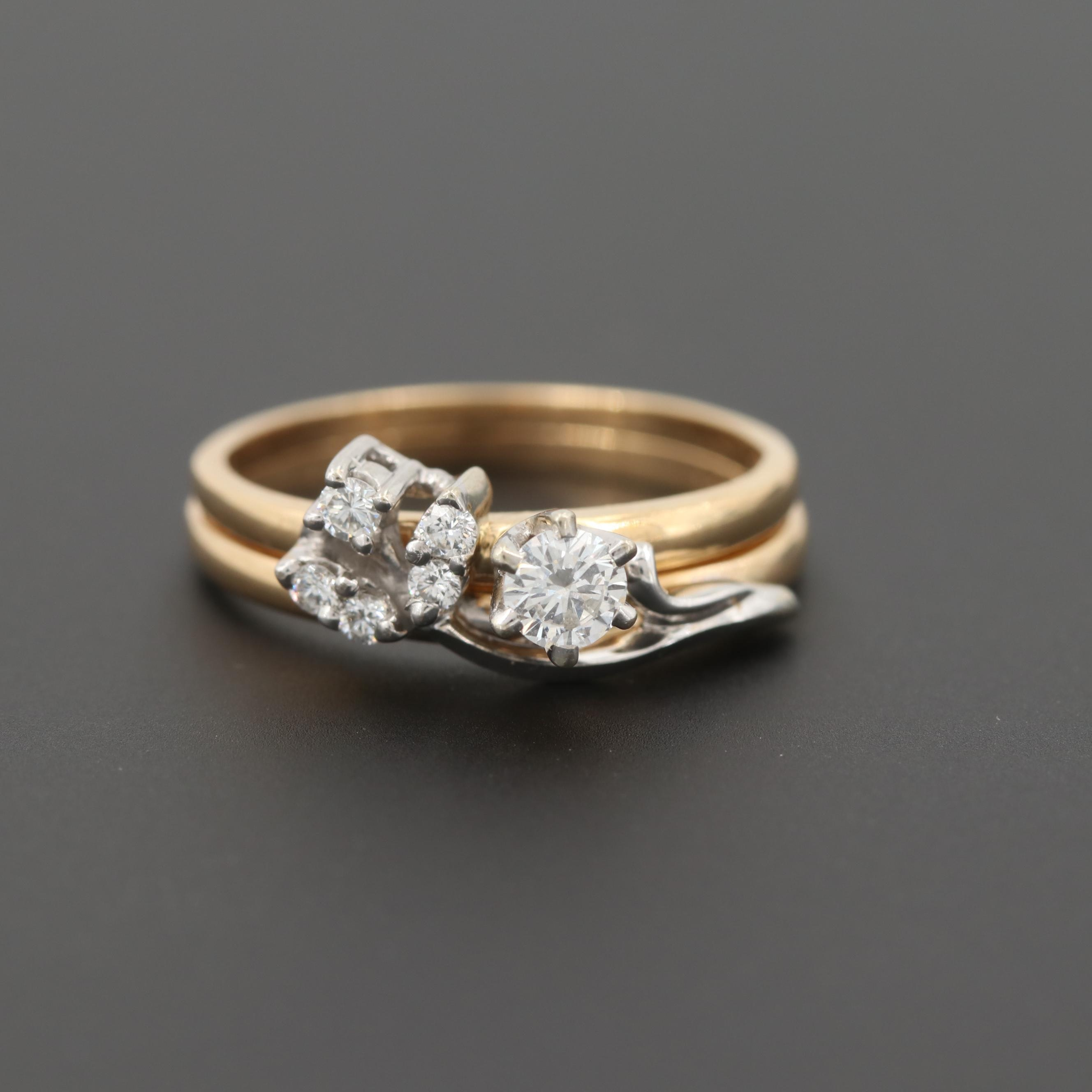 14K Yellow Gold Diamond Nesting Ring Set with White Gold Accents