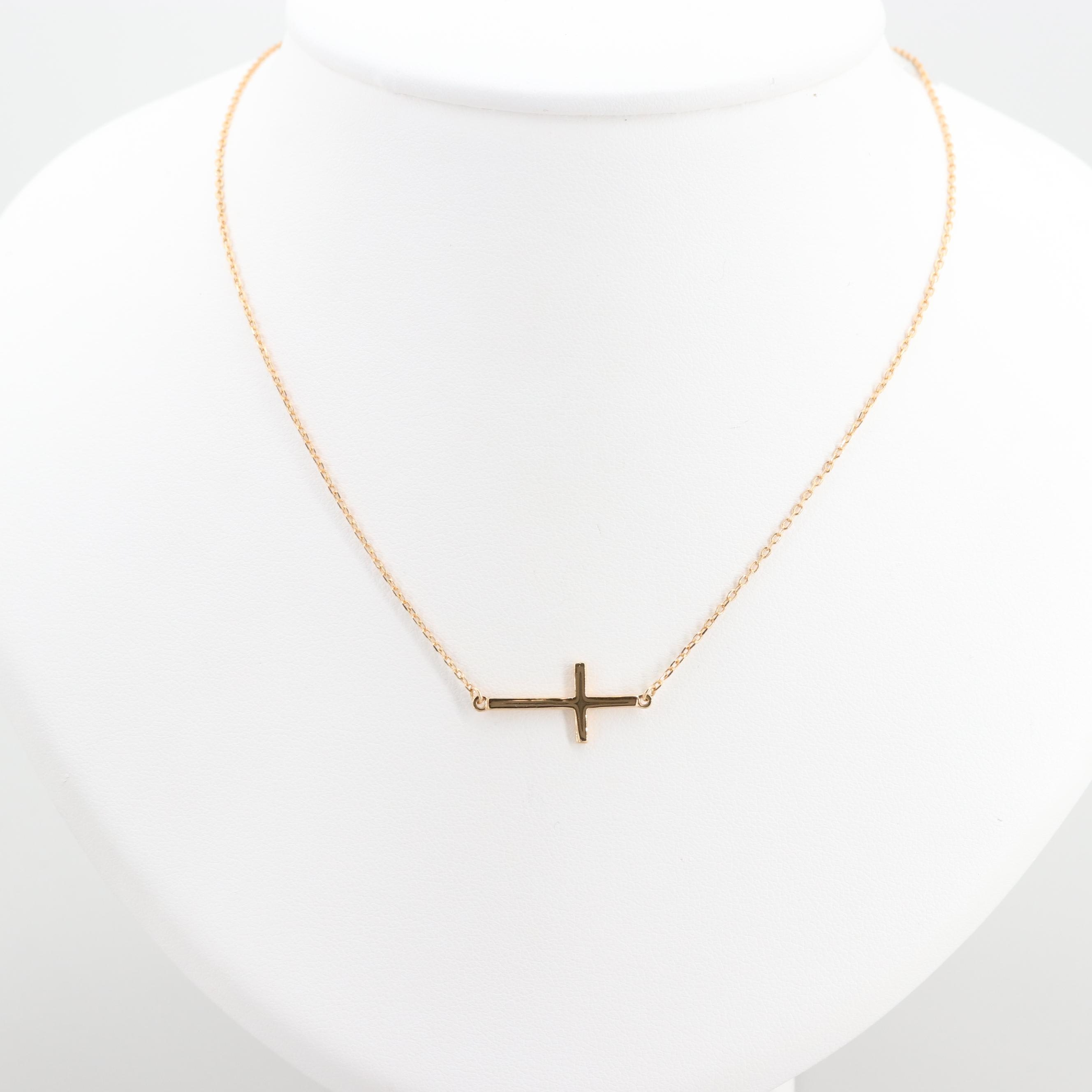 Gold Wash on Sterling Silver Split Chain Cross Necklace